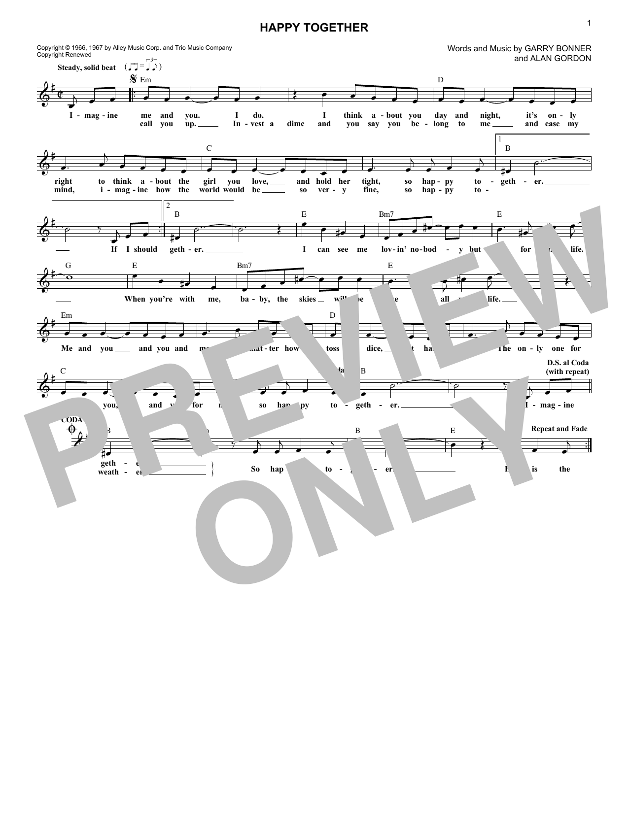 Happy Together (Lead Sheet / Fake Book)