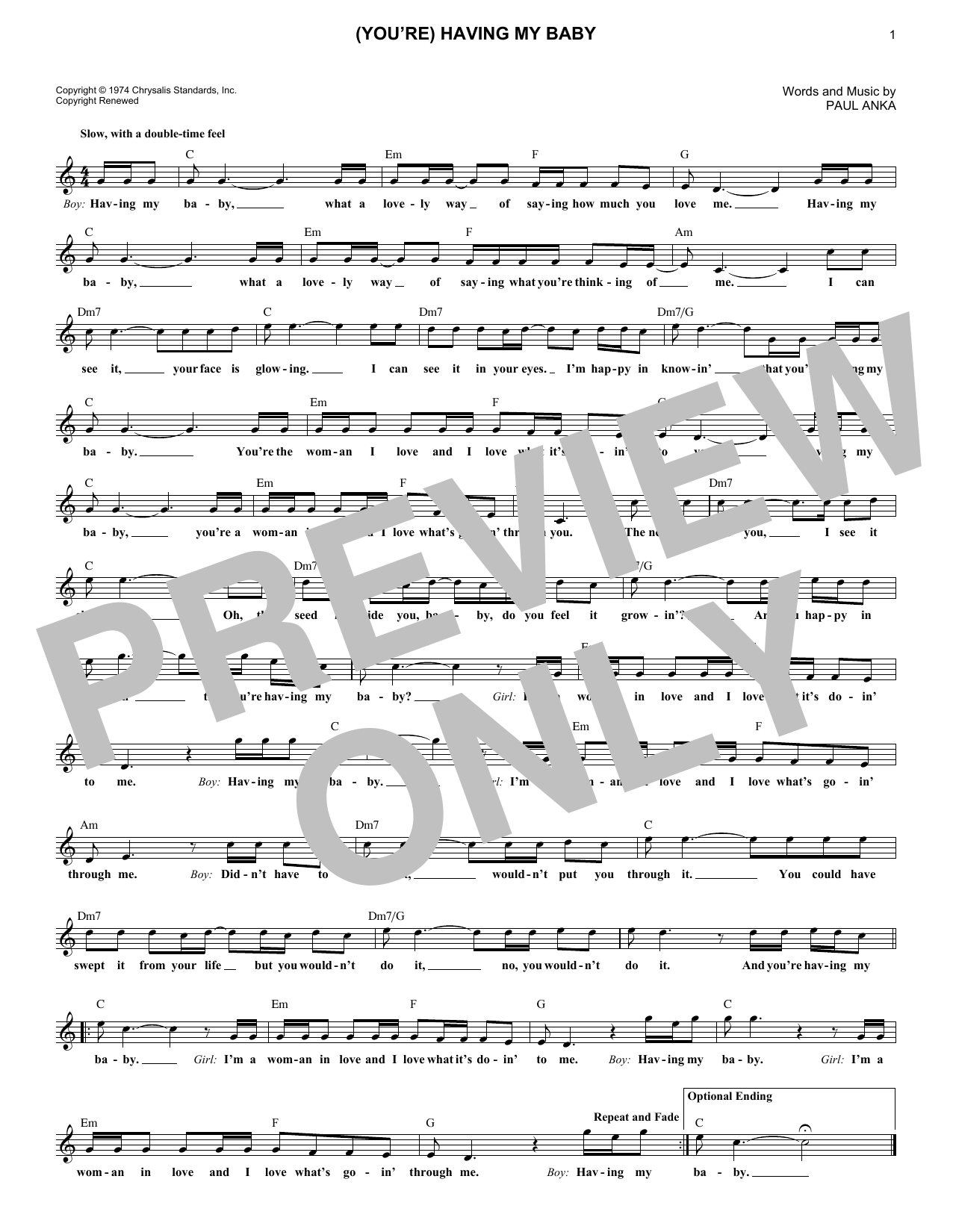 (You're) Having My Baby (Lead Sheet / Fake Book)
