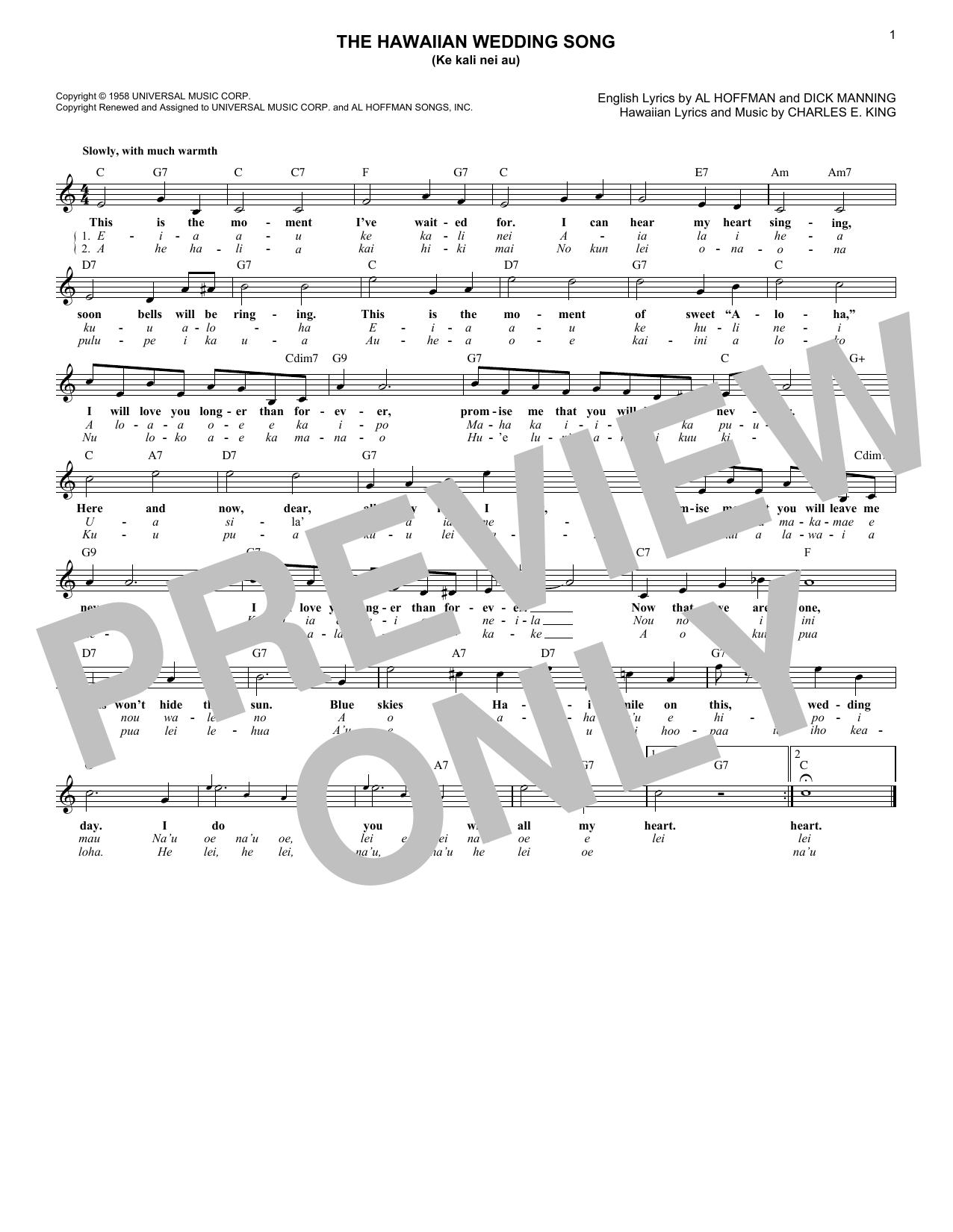 The Hawaiian Wedding Song (Ke Kali Nei Au) (Lead Sheet / Fake Book)