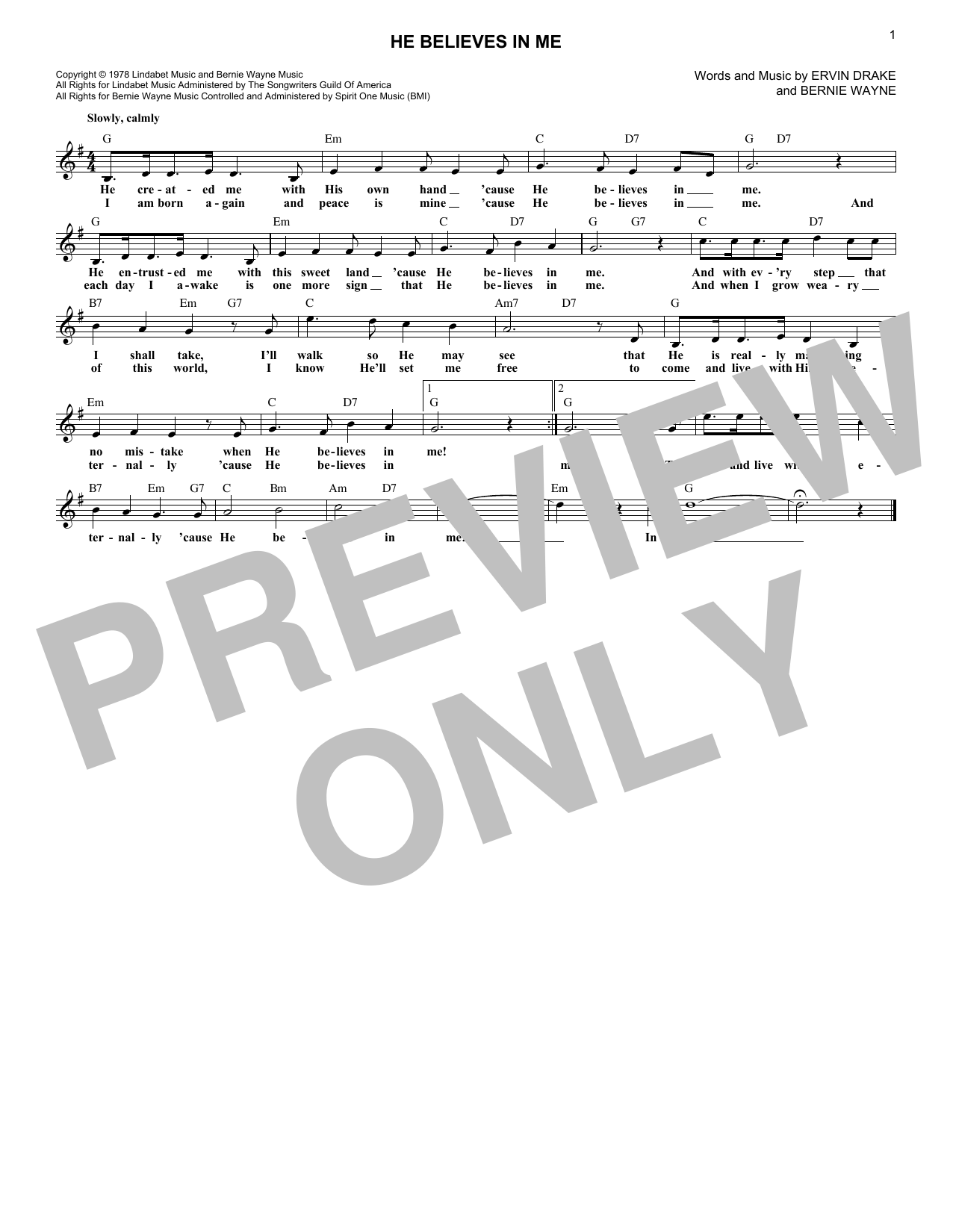 He Believes In Me (Lead Sheet / Fake Book)