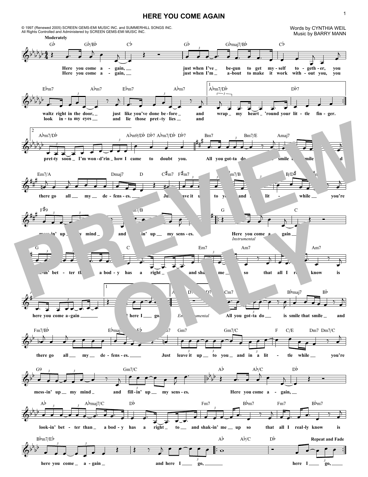 Here You Come Again (Lead Sheet / Fake Book)