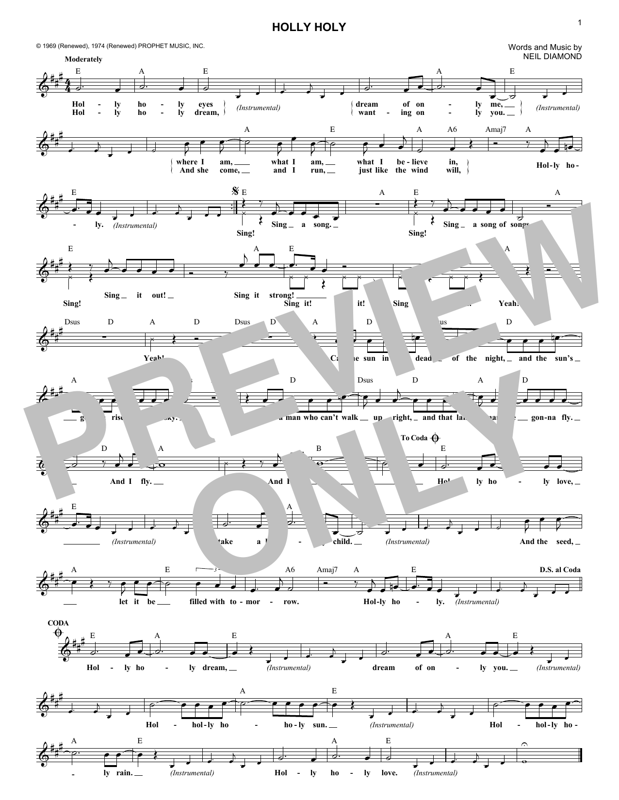 Holly Holy (Lead Sheet / Fake Book)