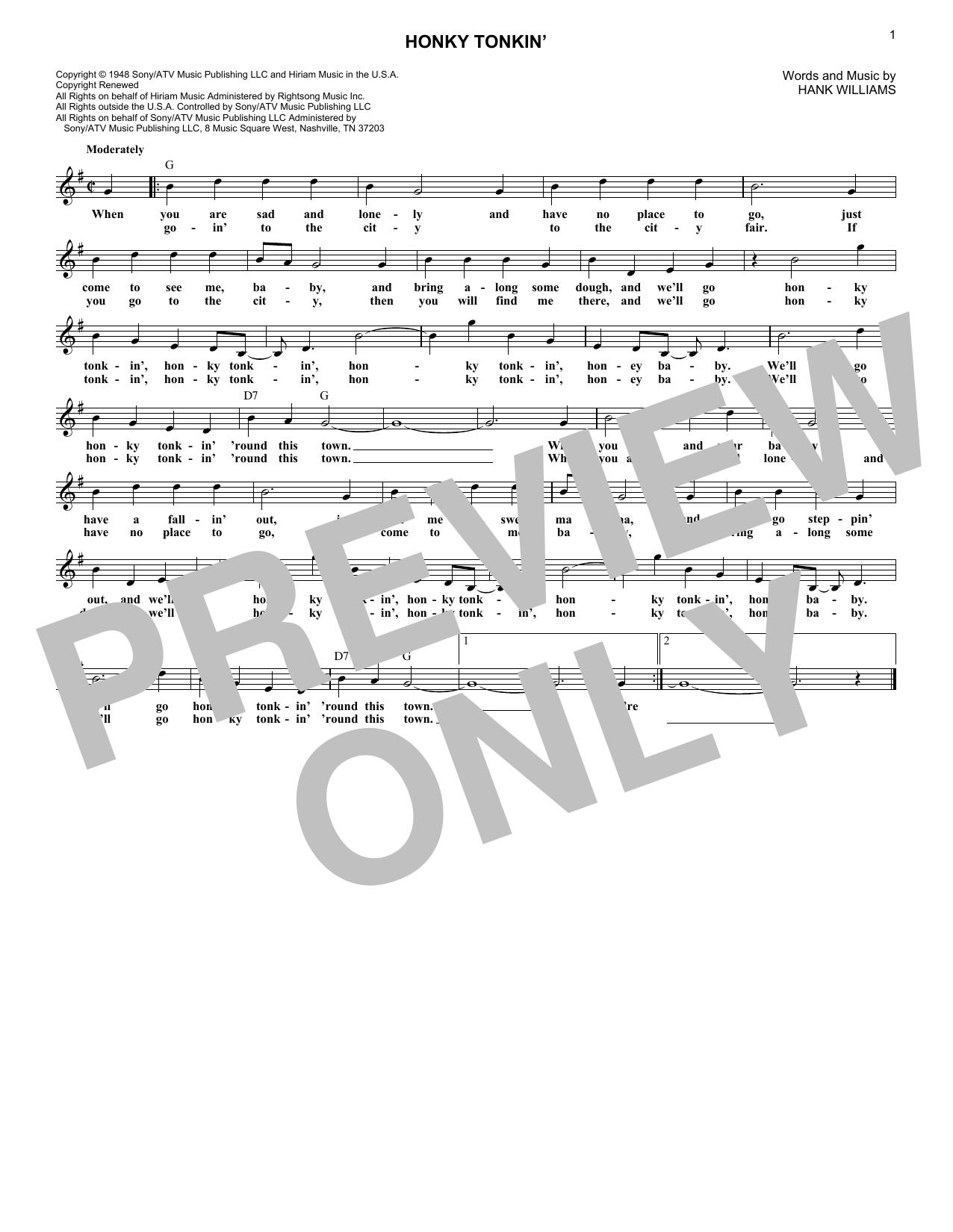 Honky Tonkin' (Lead Sheet / Fake Book)