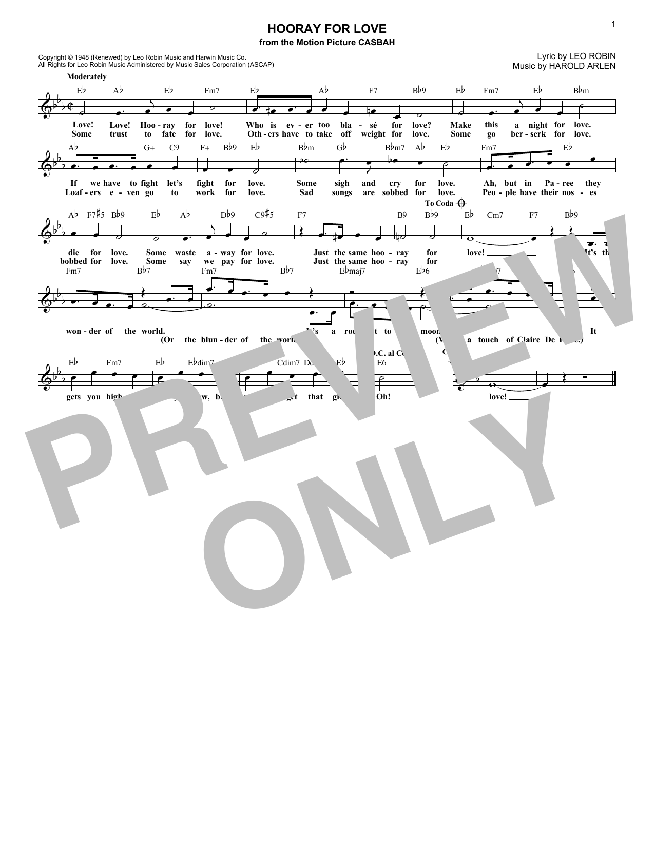 Hooray For Love (Lead Sheet / Fake Book)
