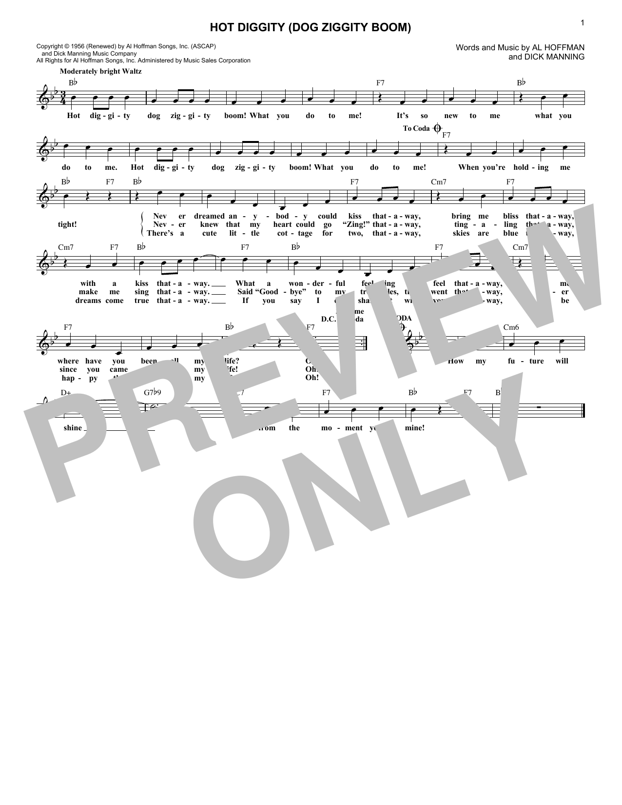 Hot Diggity (Dog Ziggity Boom) (Lead Sheet / Fake Book)