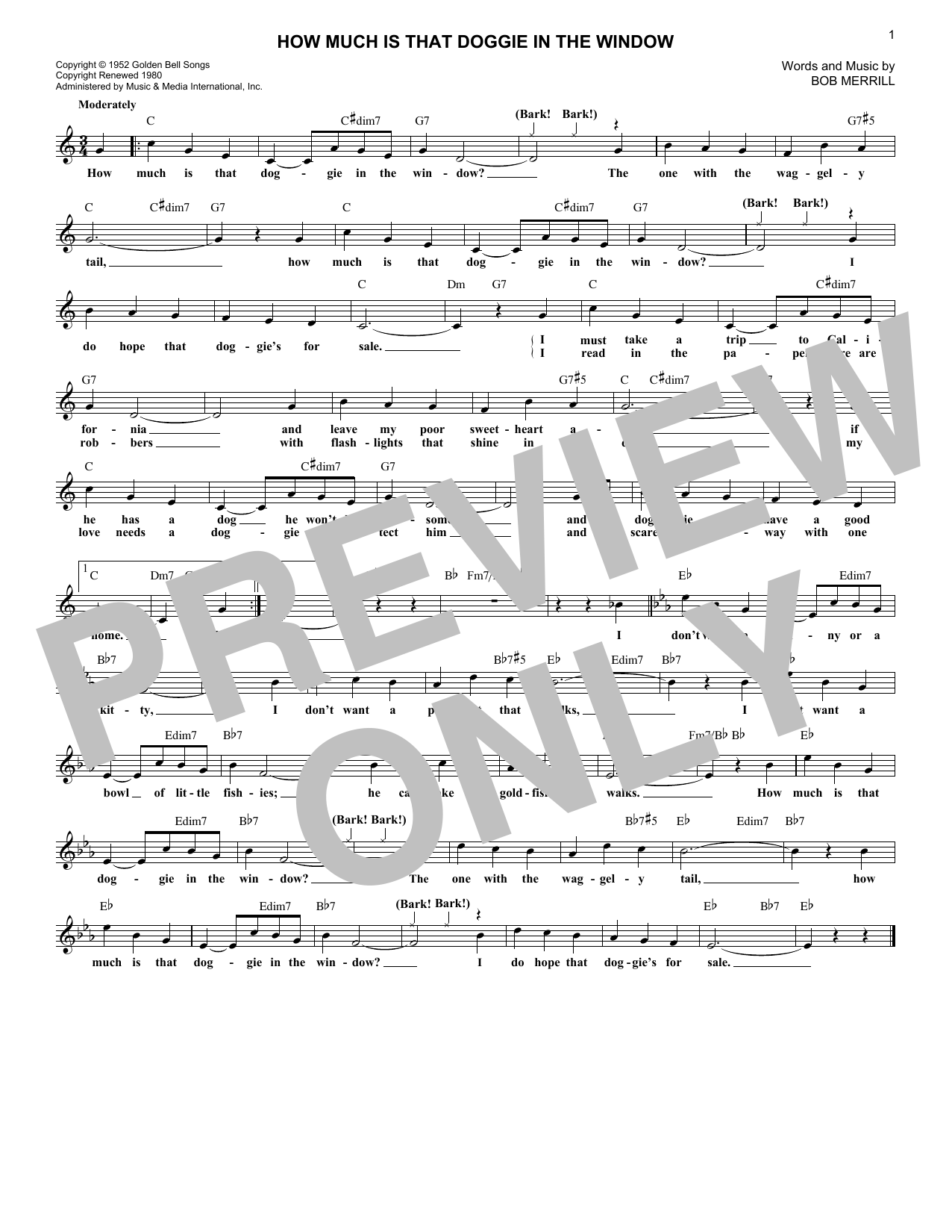 How Much Is That Doggie In The Window (Lead Sheet / Fake Book)