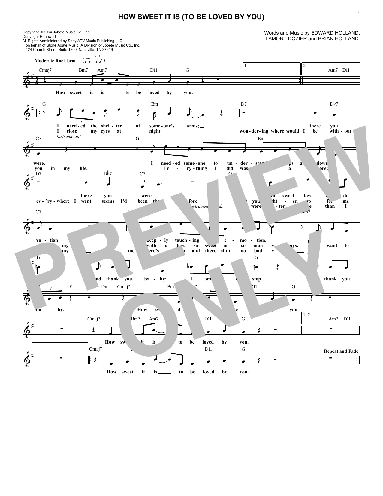 How Sweet It Is (To Be Loved By You) (Lead Sheet / Fake Book)