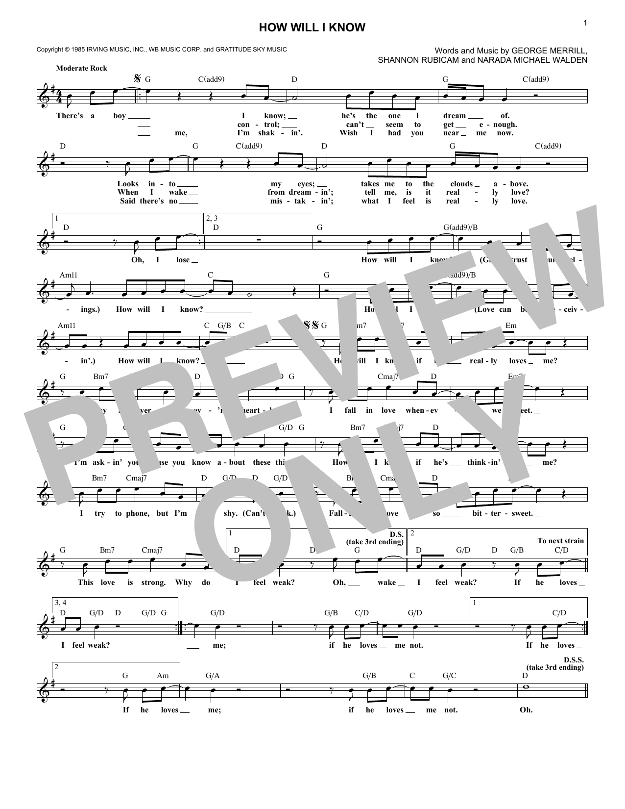 How Will I Know (Lead Sheet / Fake Book)