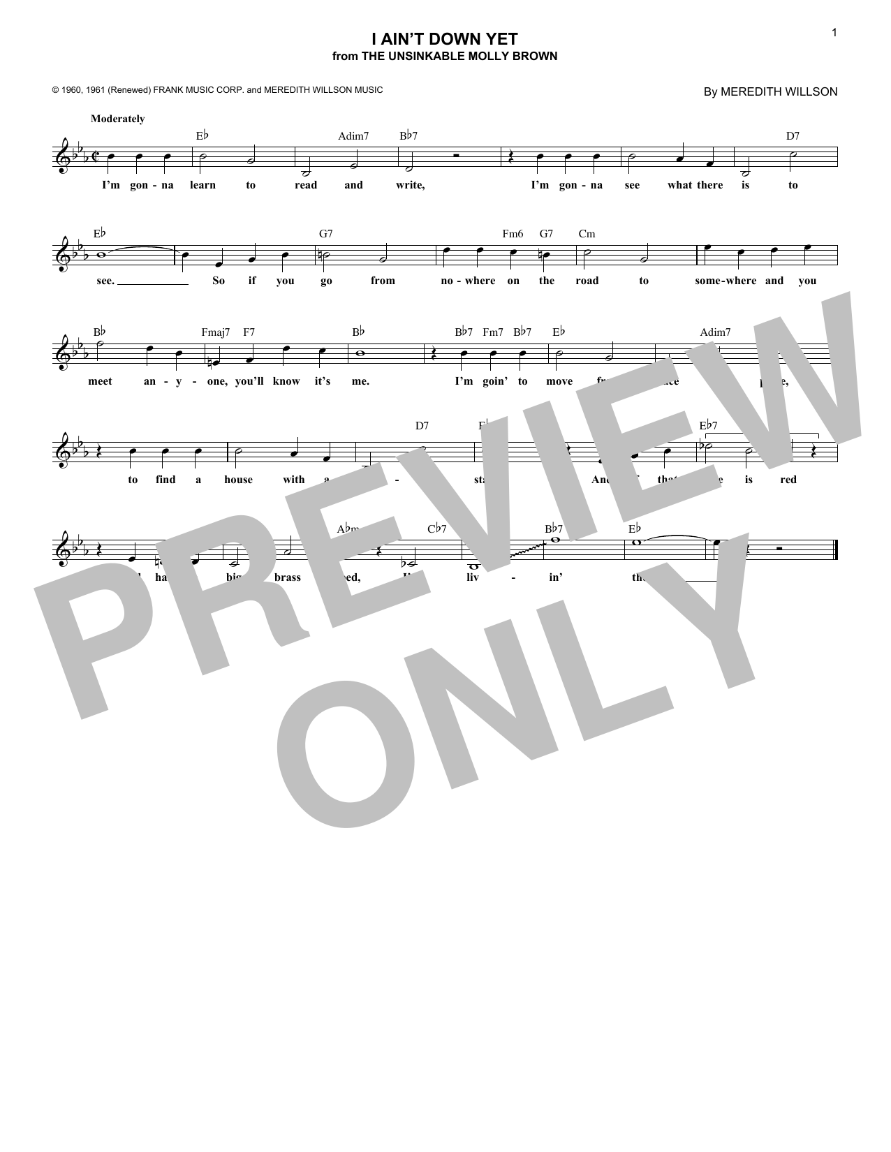 I Ain't Down Yet (Lead Sheet / Fake Book)
