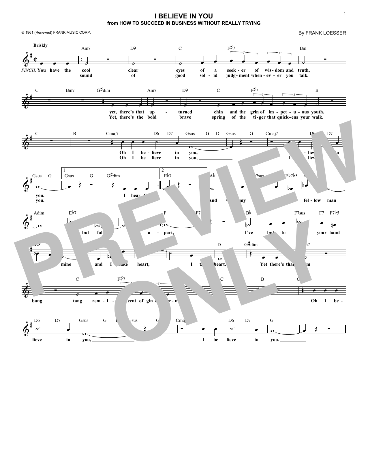 I Believe In You (Lead Sheet / Fake Book)