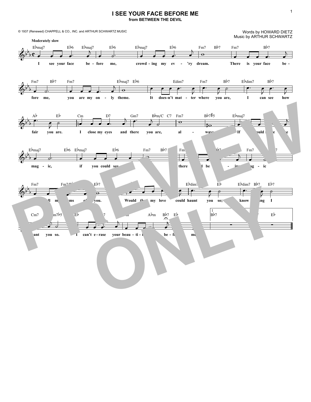 I See Your Face Before Me (Lead Sheet / Fake Book)