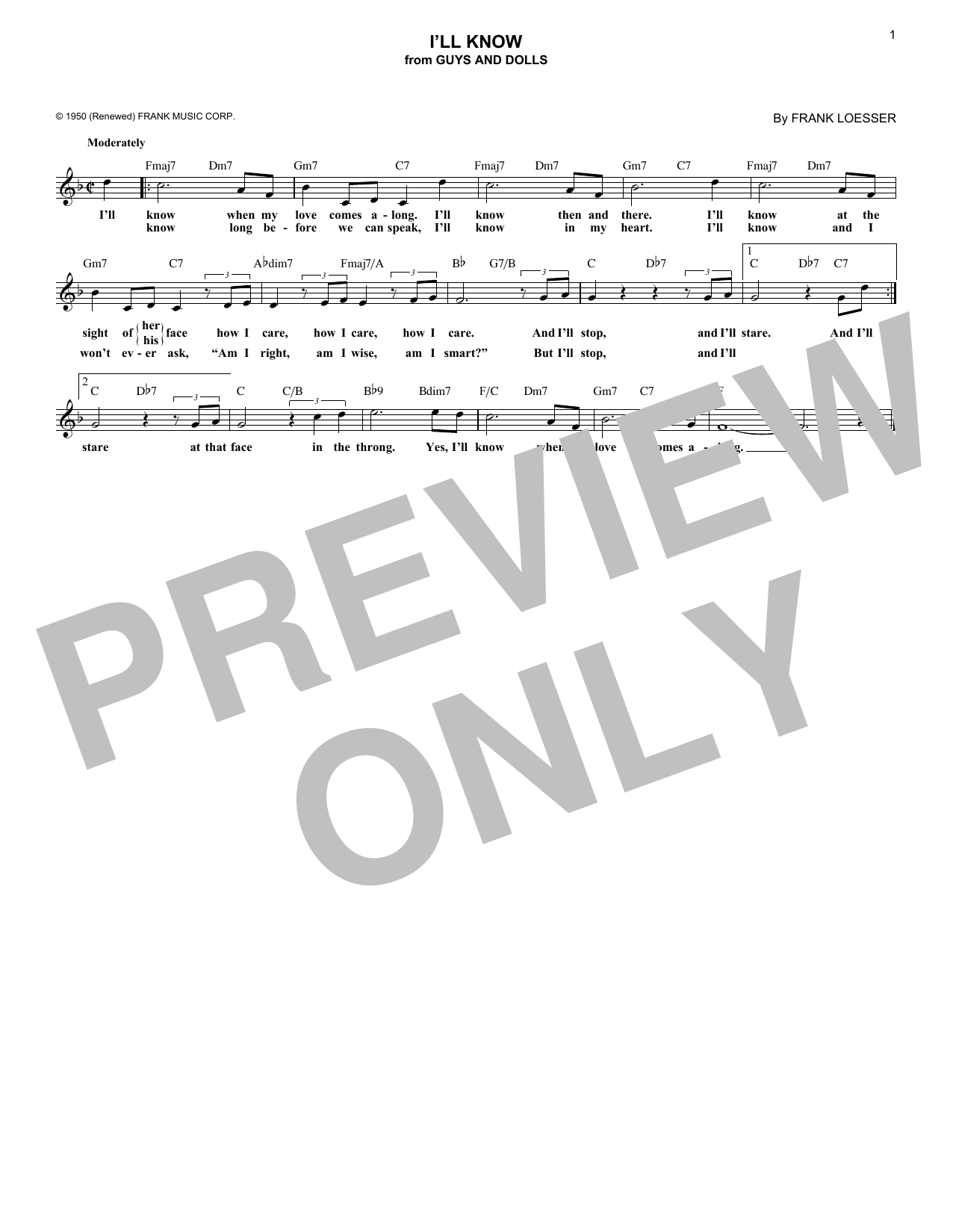 I'll Know (Lead Sheet / Fake Book)