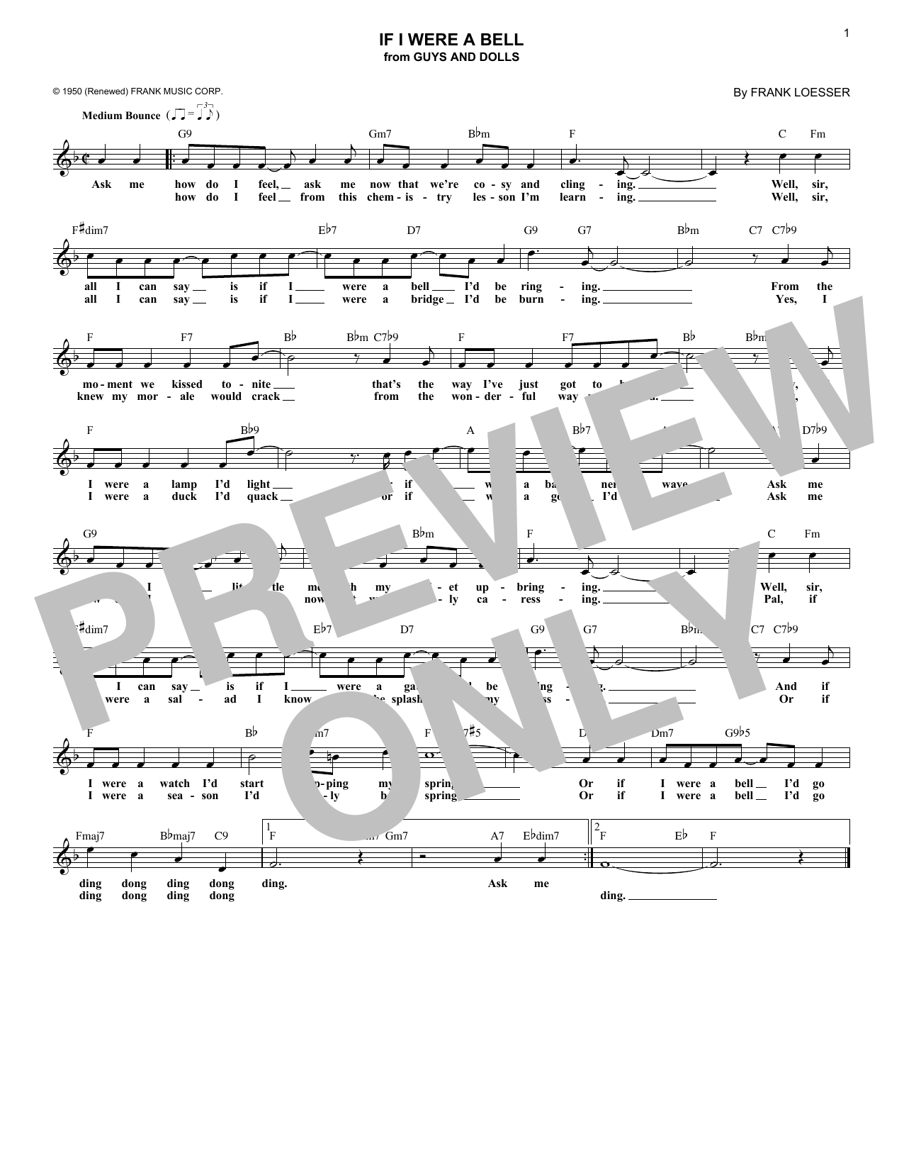 If I Were A Bell (Lead Sheet / Fake Book)