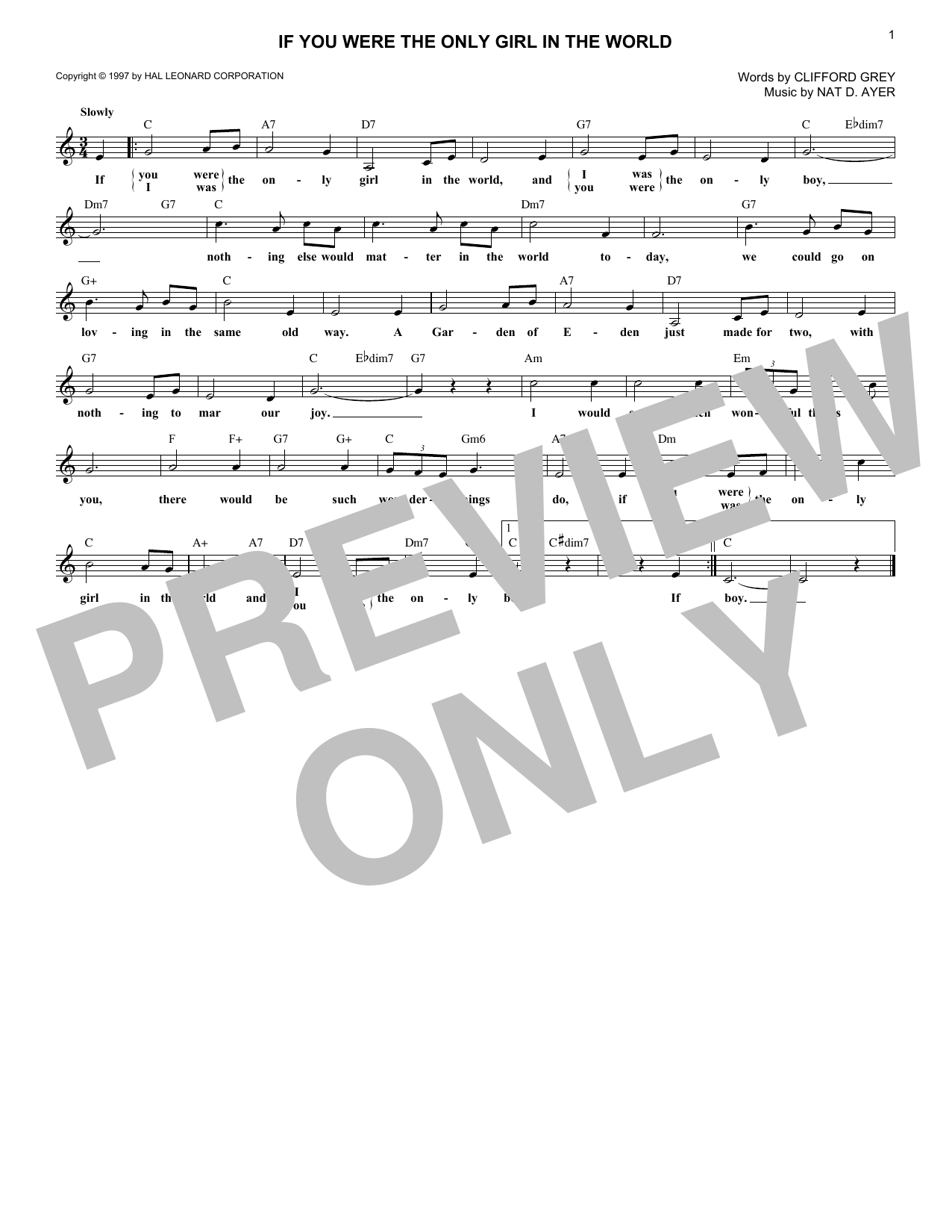 If You Were The Only Girl In The World (Lead Sheet / Fake Book)