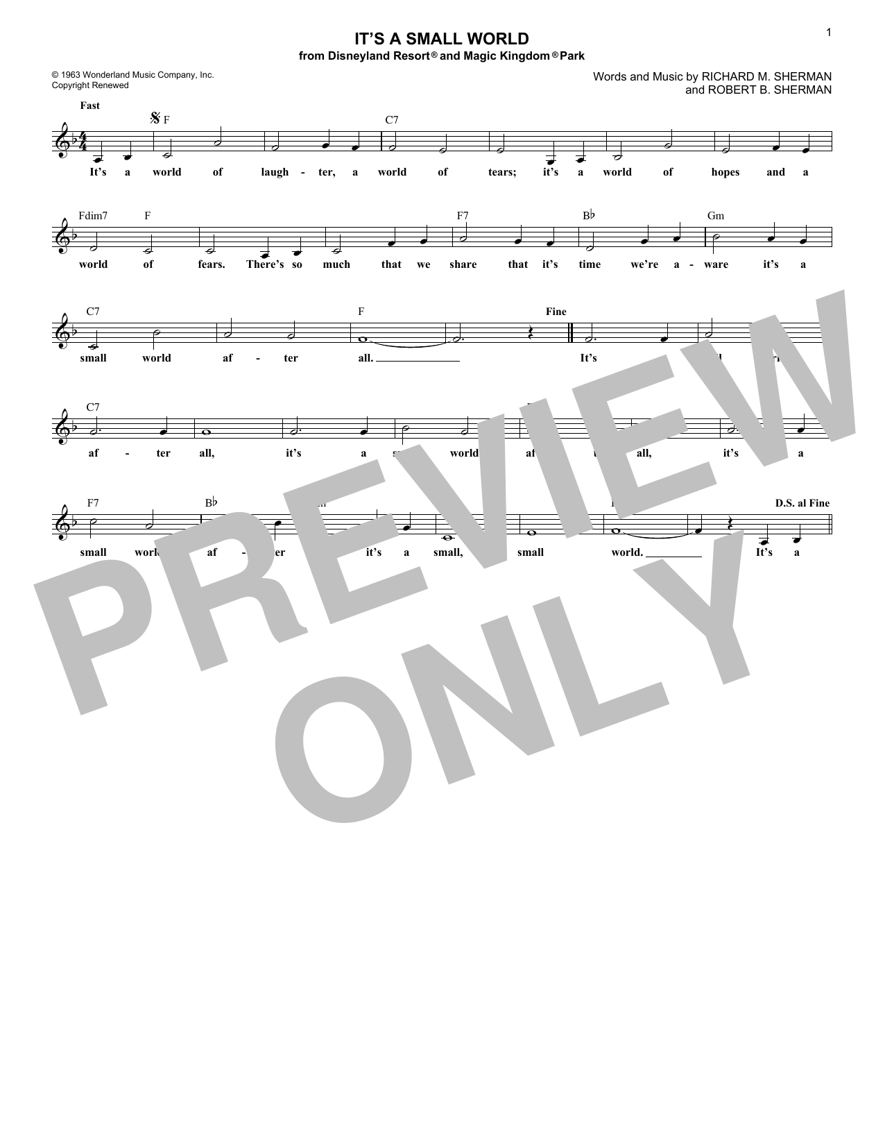It's A Small World (Lead Sheet / Fake Book)