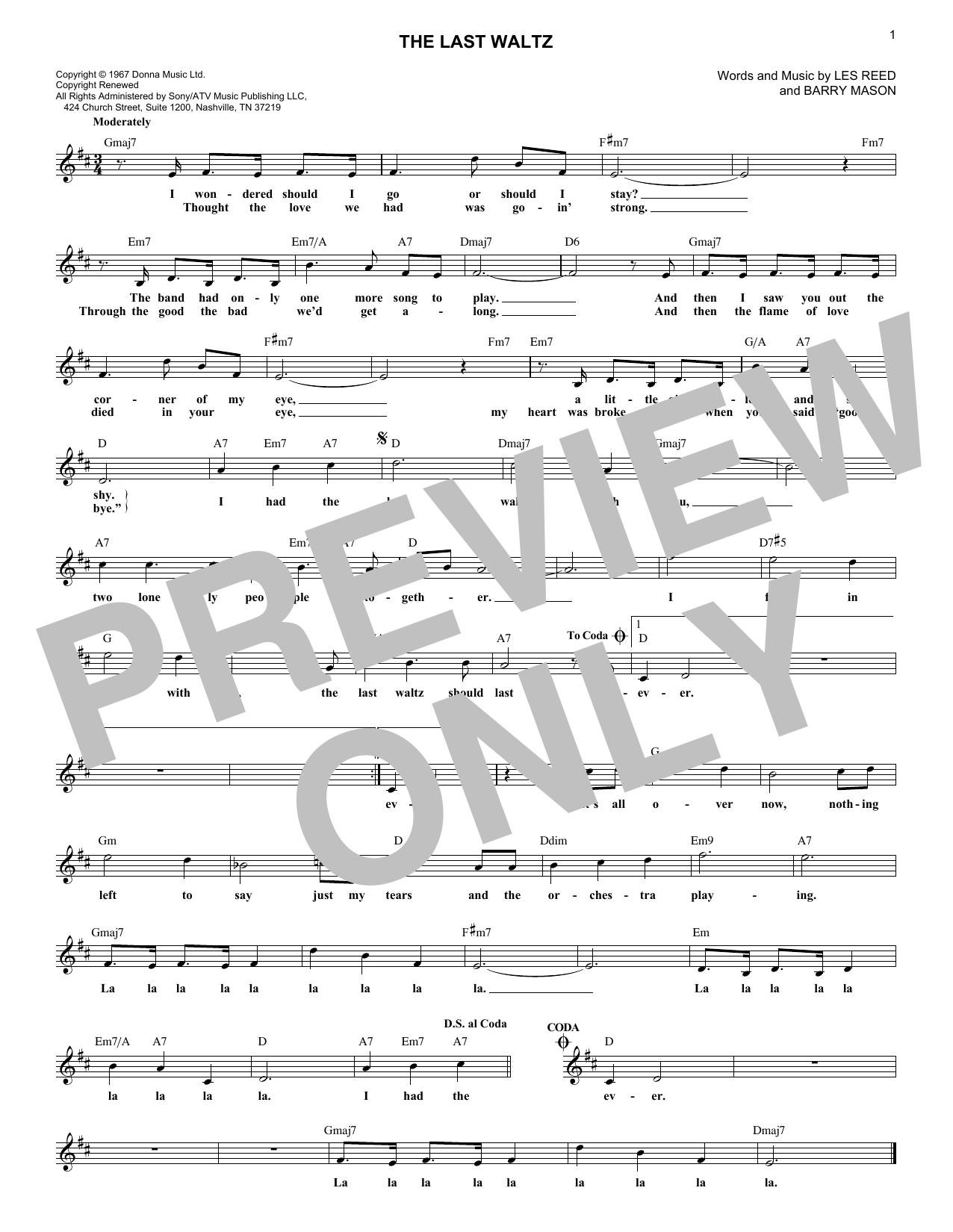 The Last Waltz (Lead Sheet / Fake Book)