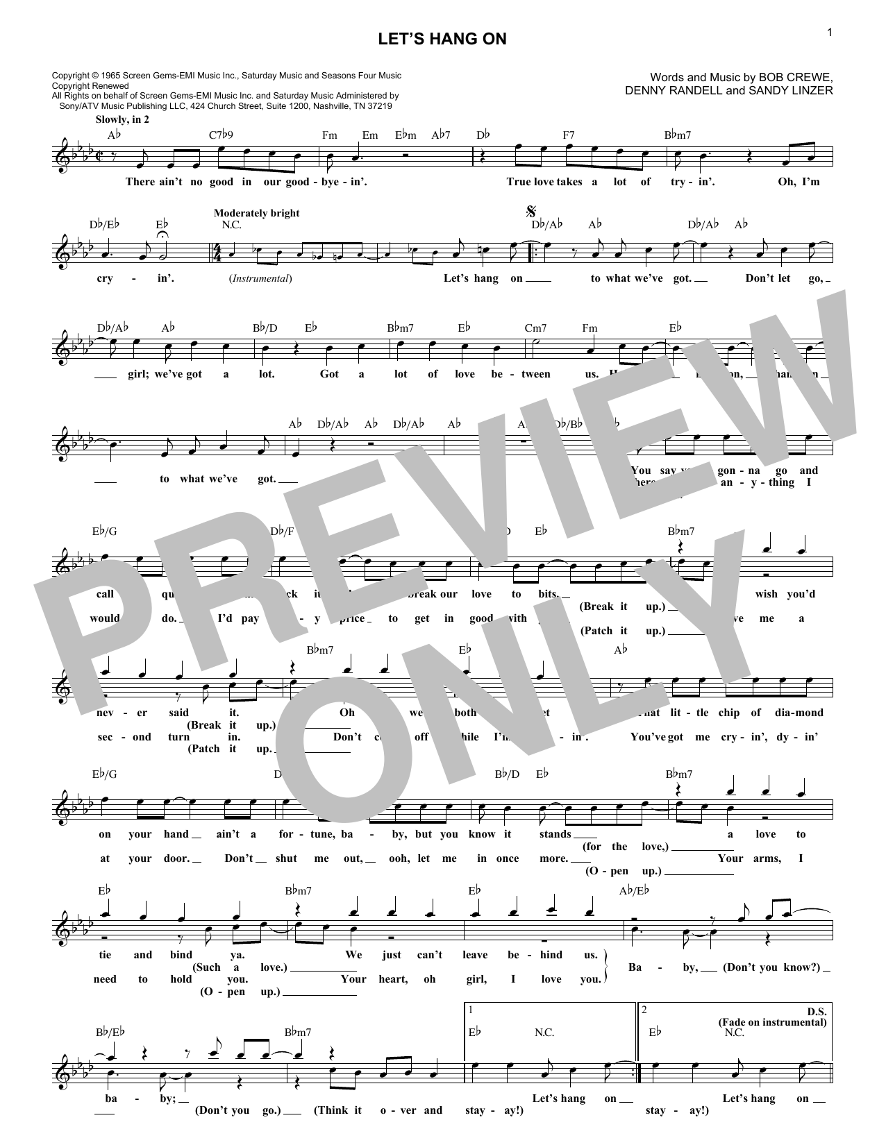 Let's Hang On (Lead Sheet / Fake Book)