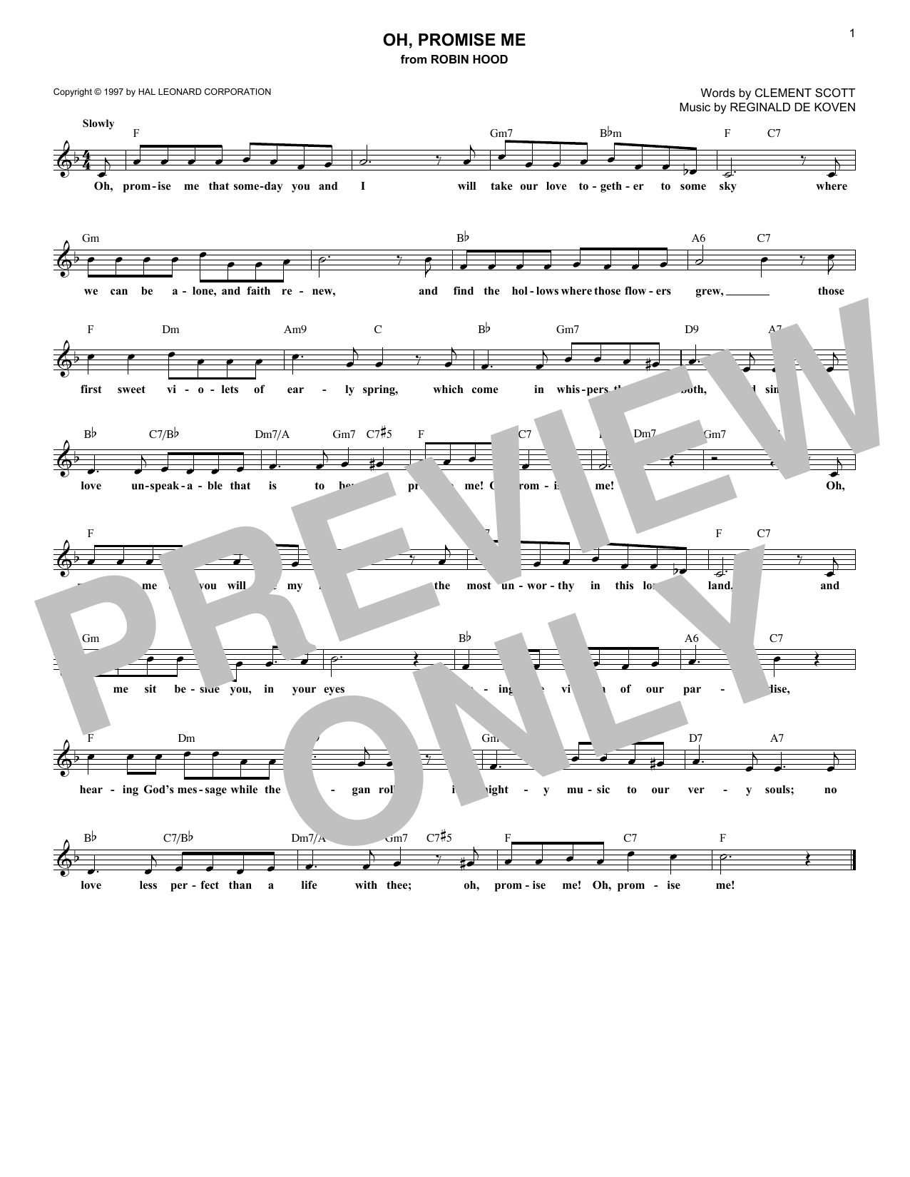Oh, Promise Me (Lead Sheet / Fake Book)