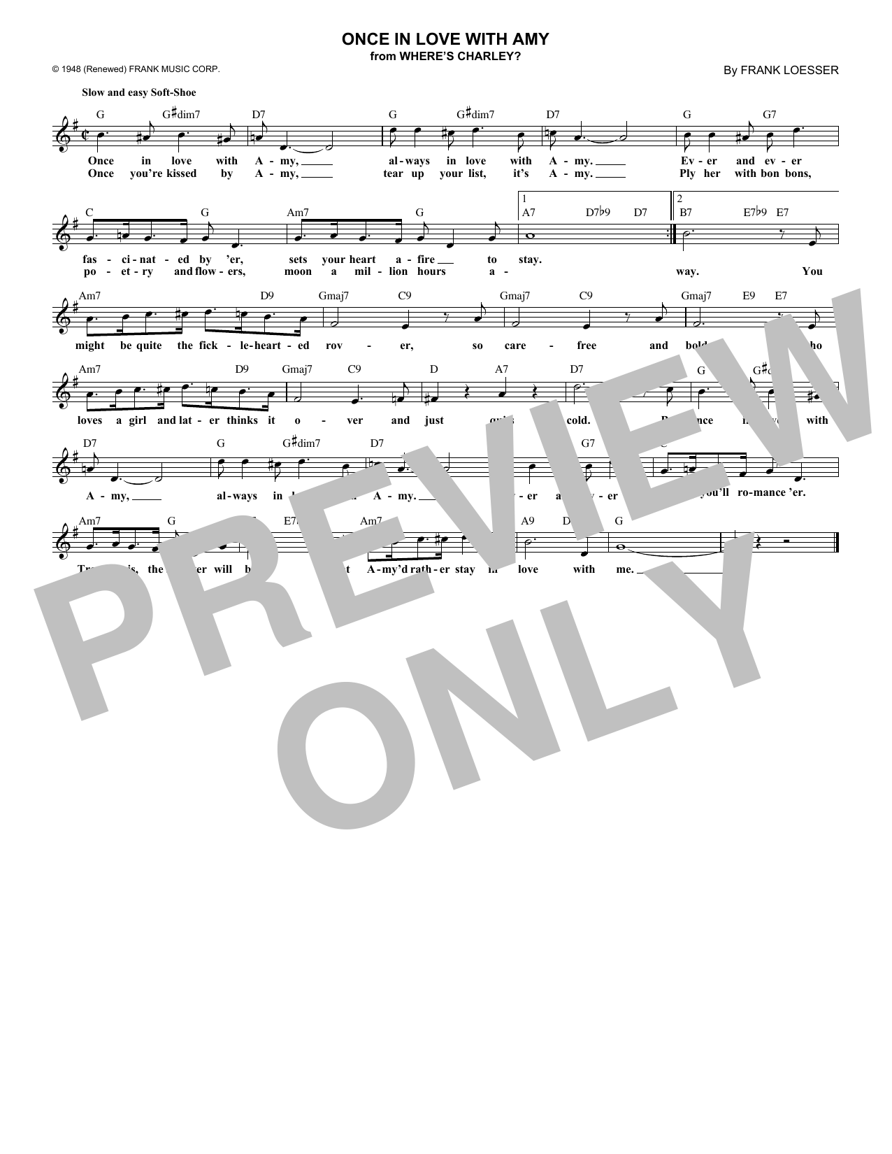 Once In Love With Amy (Lead Sheet / Fake Book)