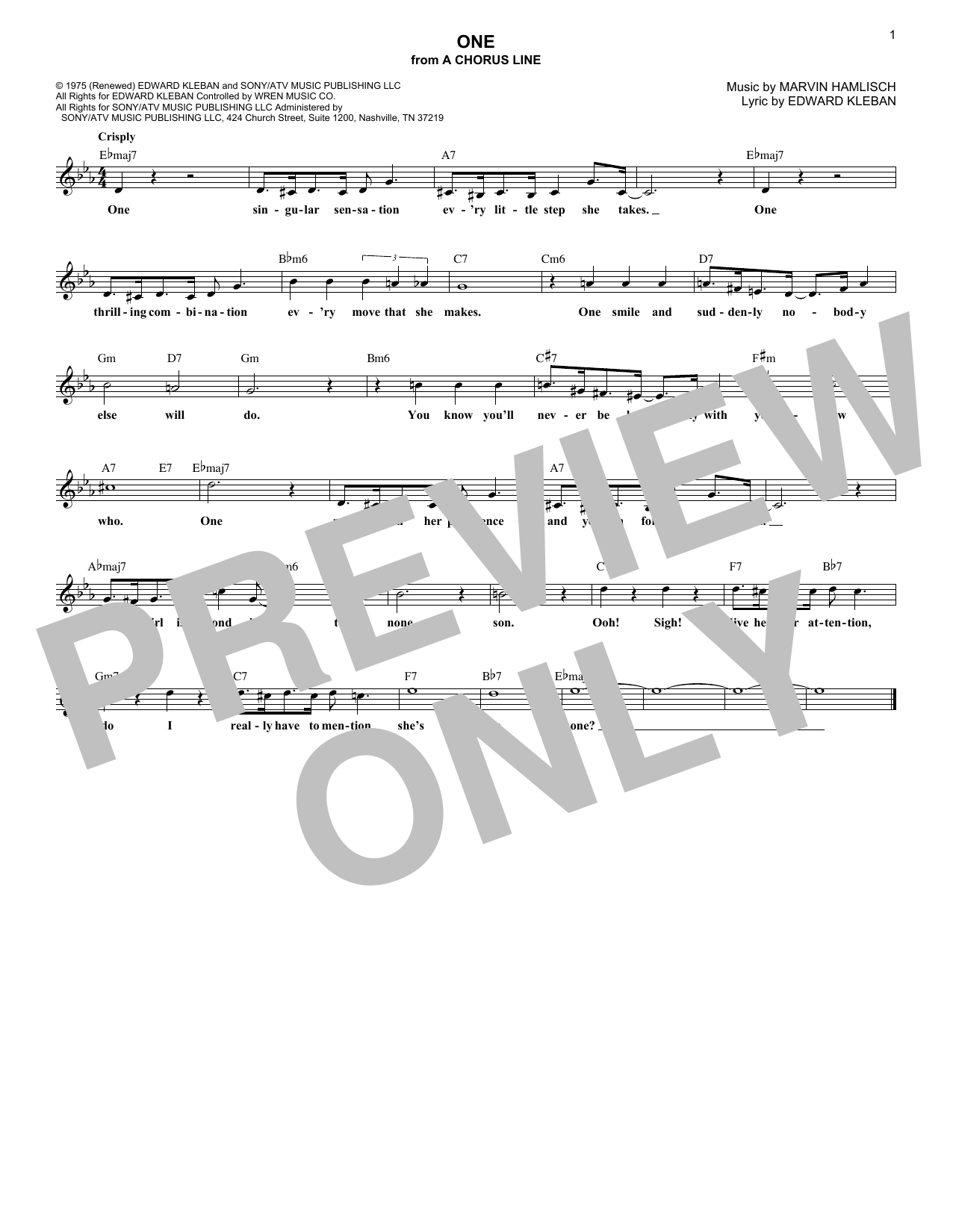 One (from A Chorus Line) (Lead Sheet / Fake Book)
