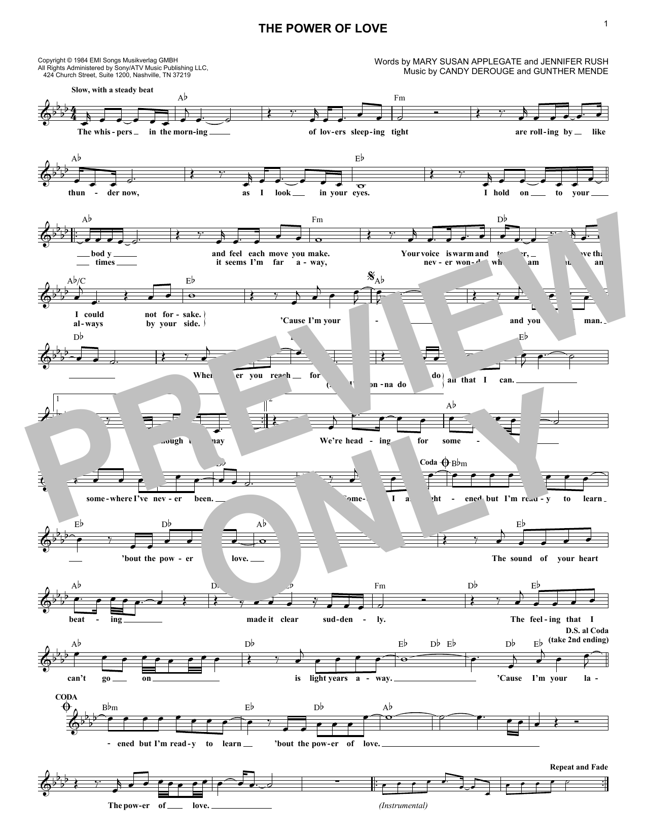 The Power Of Love (Lead Sheet / Fake Book)