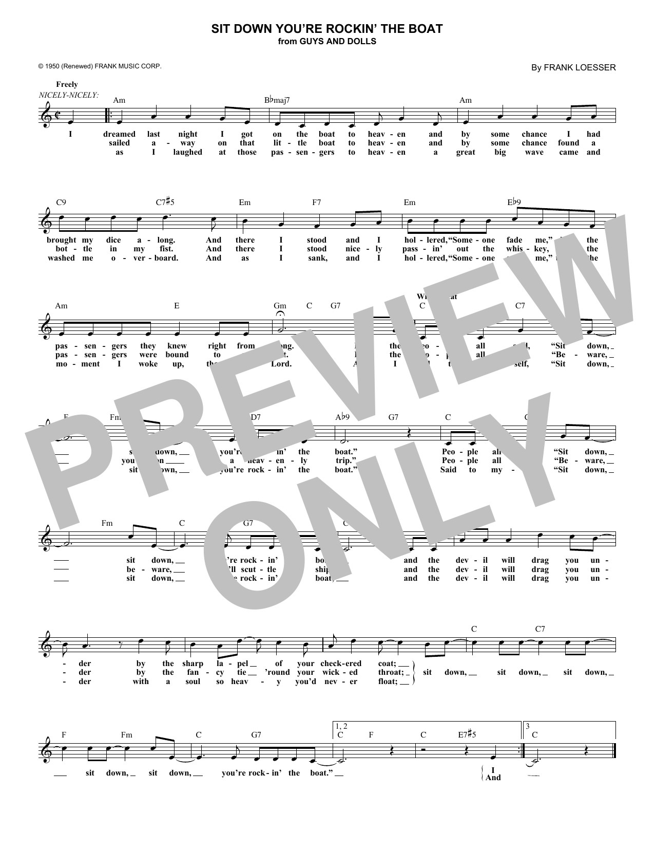 Sit Down You're Rockin' The Boat (Lead Sheet / Fake Book)