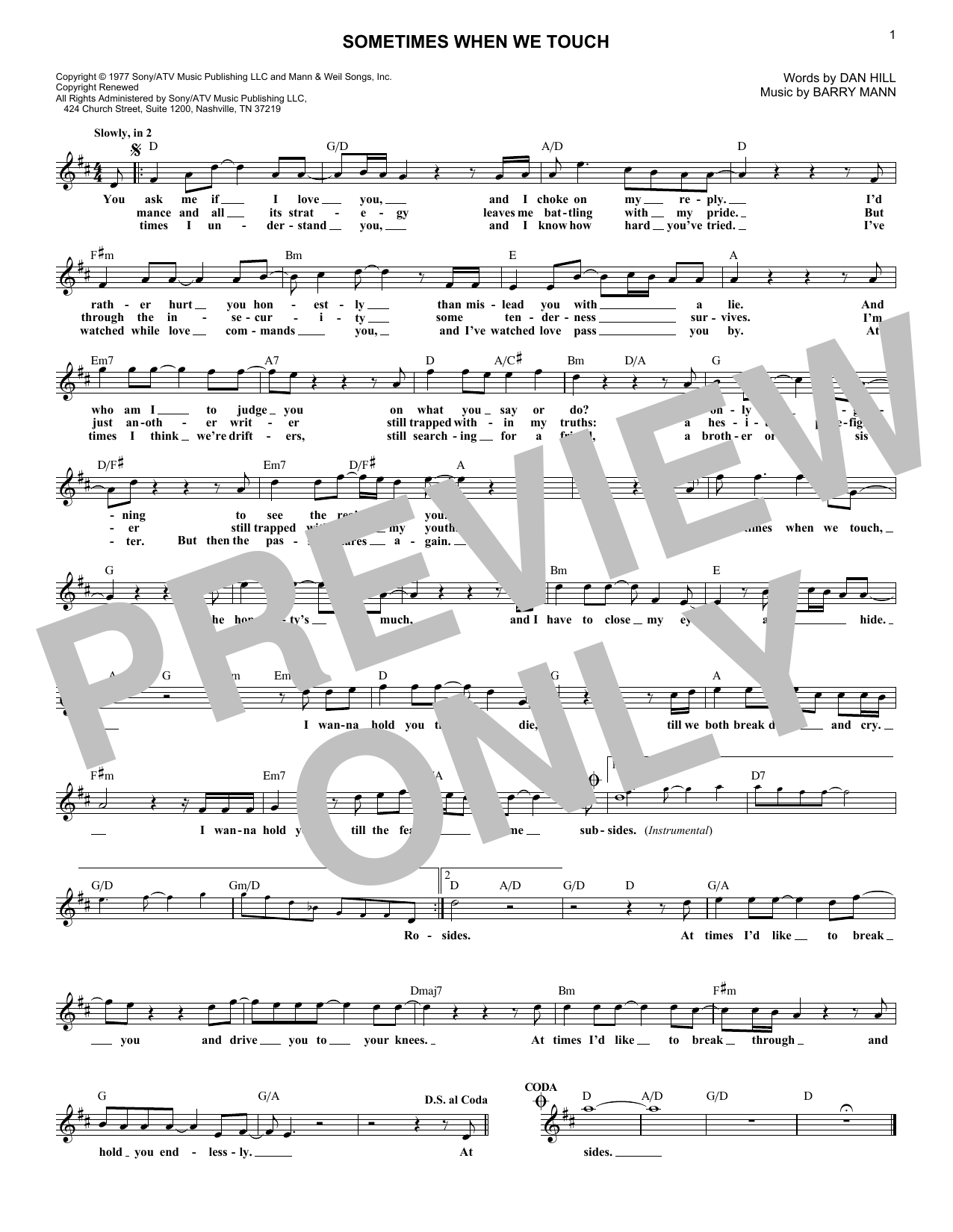 Sometimes When We Touch (Lead Sheet / Fake Book)