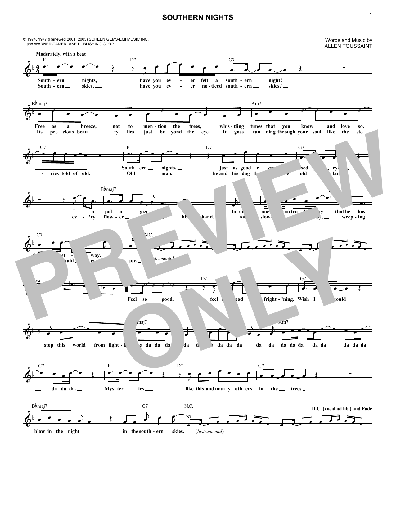 Southern Nights (Lead Sheet / Fake Book)