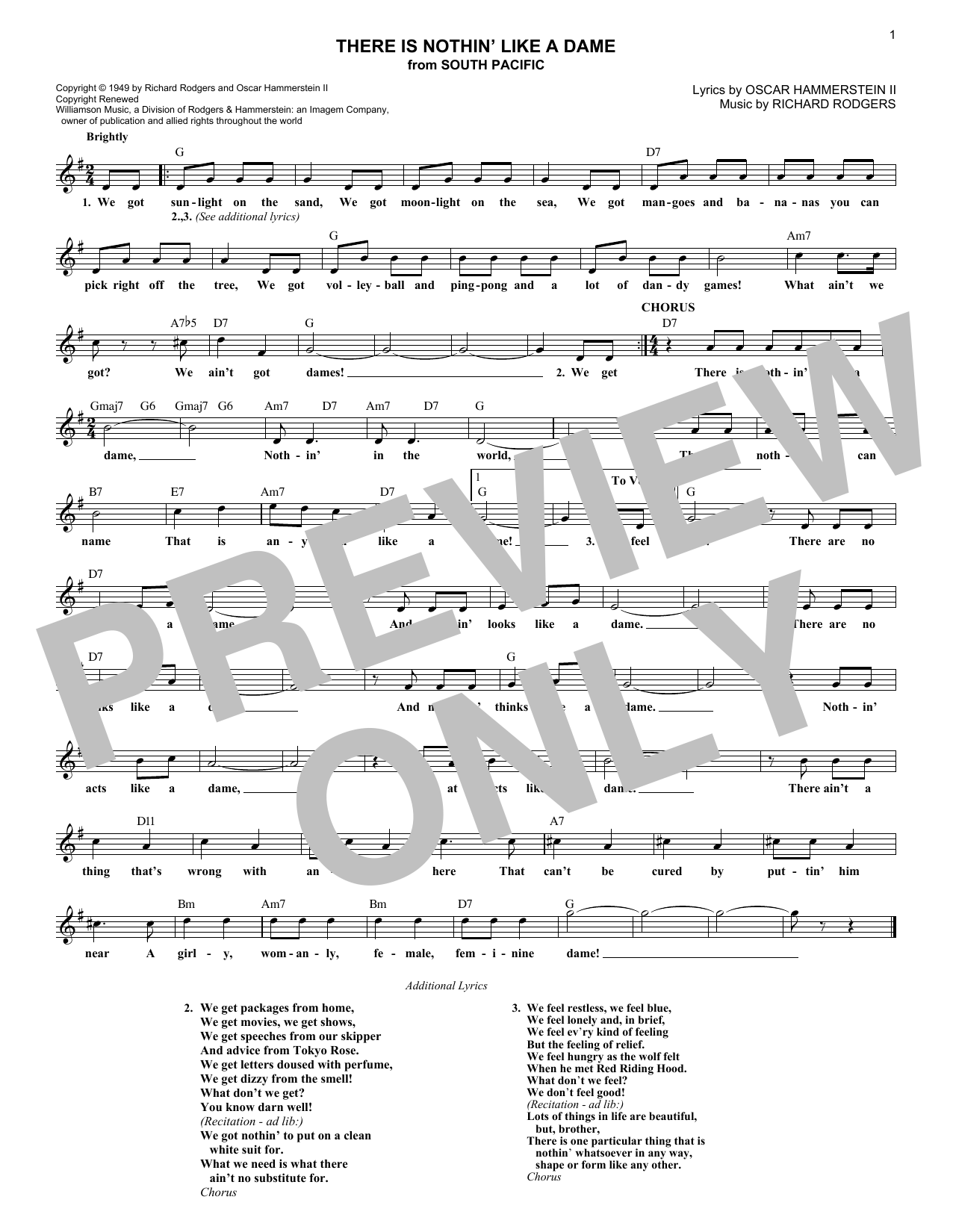 There Is Nothin' Like A Dame (Lead Sheet / Fake Book)