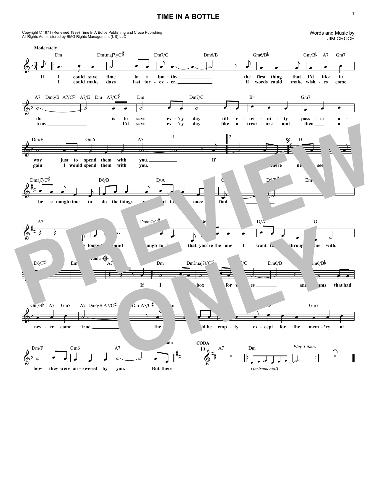 Time In A Bottle (Lead Sheet / Fake Book)