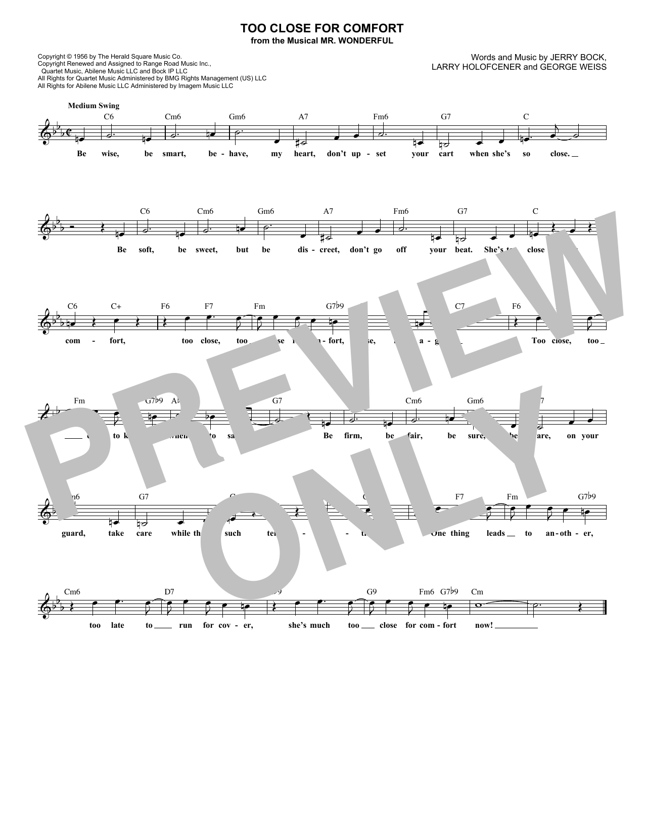 Too Close For Comfort (Lead Sheet / Fake Book)