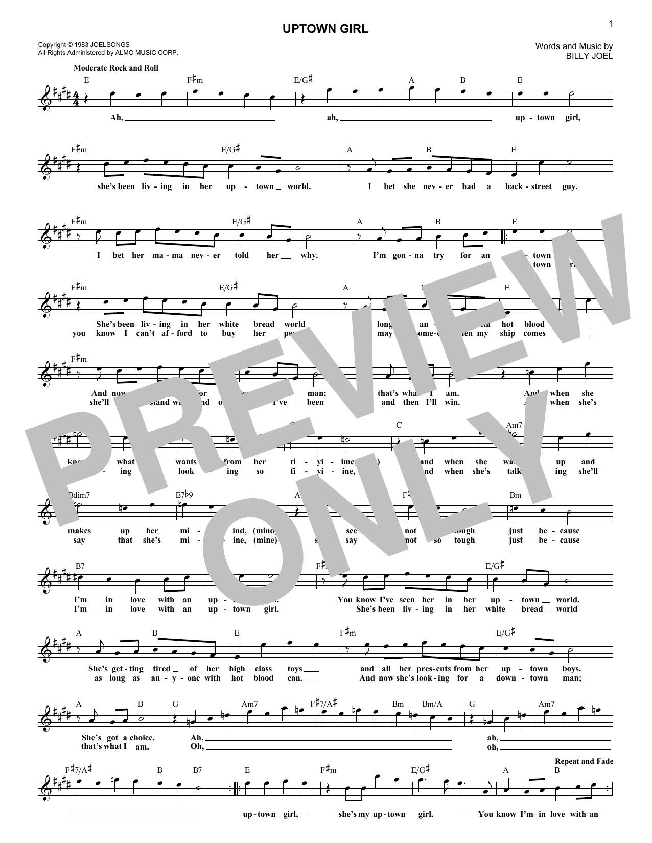 Uptown Girl (Lead Sheet / Fake Book)