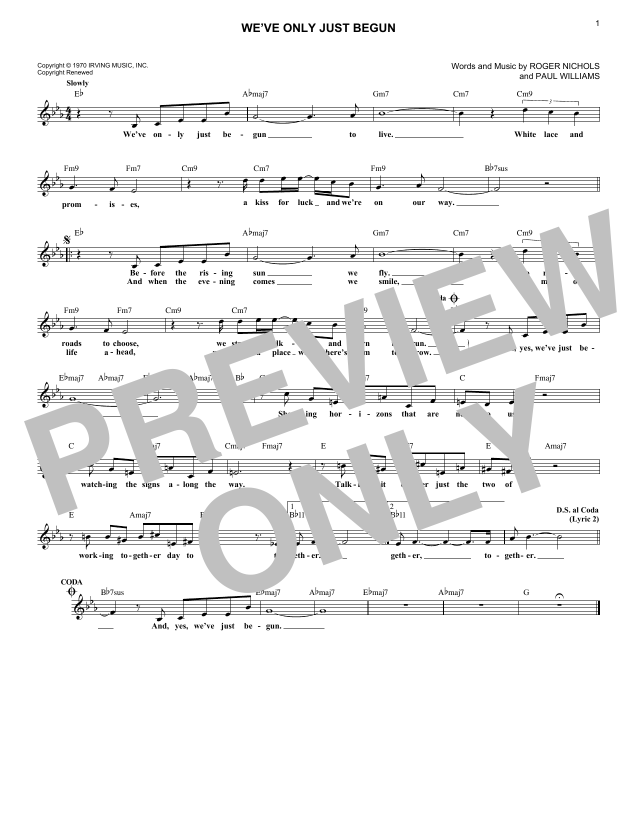 We've Only Just Begun (Lead Sheet / Fake Book)
