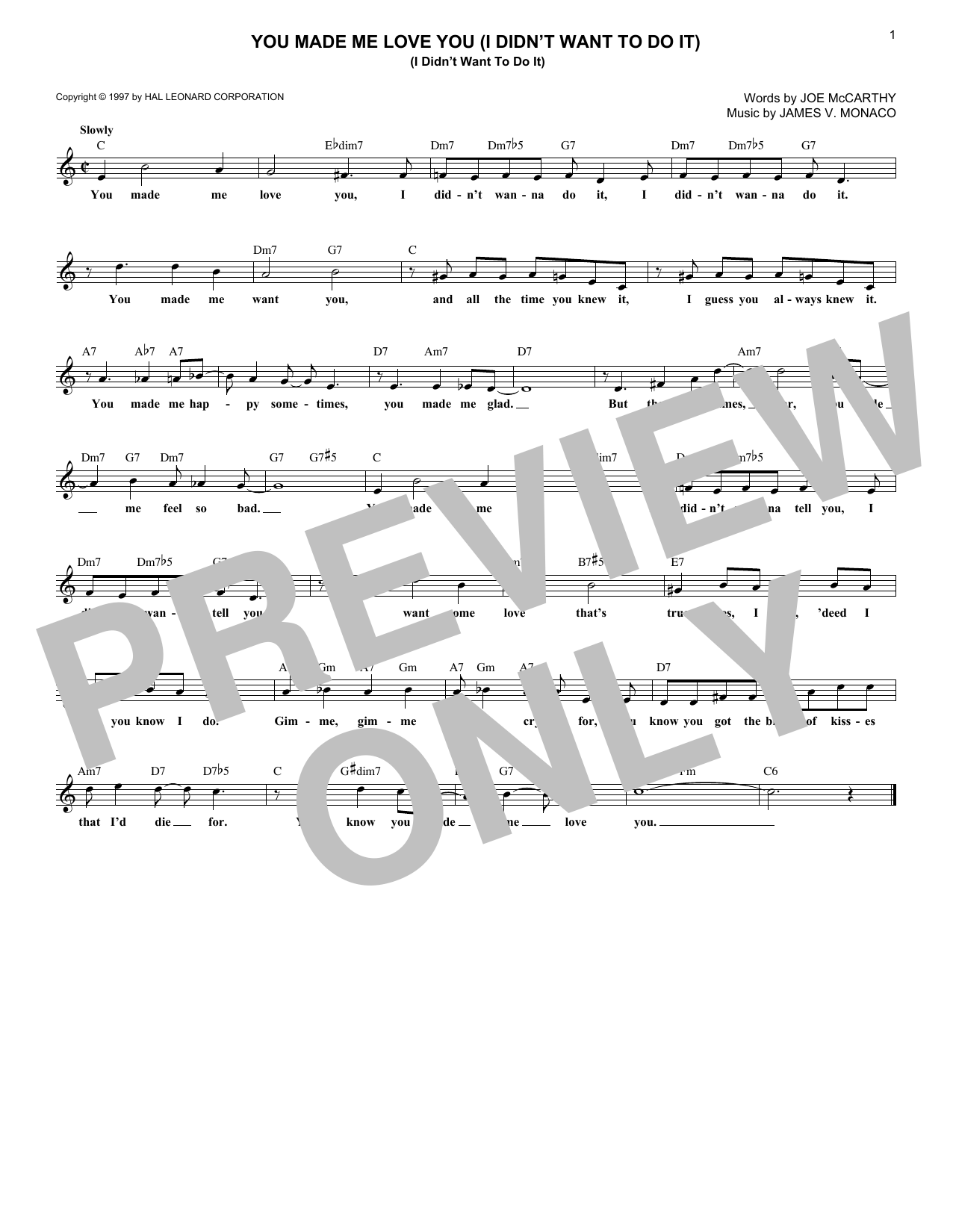 You Made Me Love You (I Didn't Want To Do It) (Lead Sheet / Fake Book)