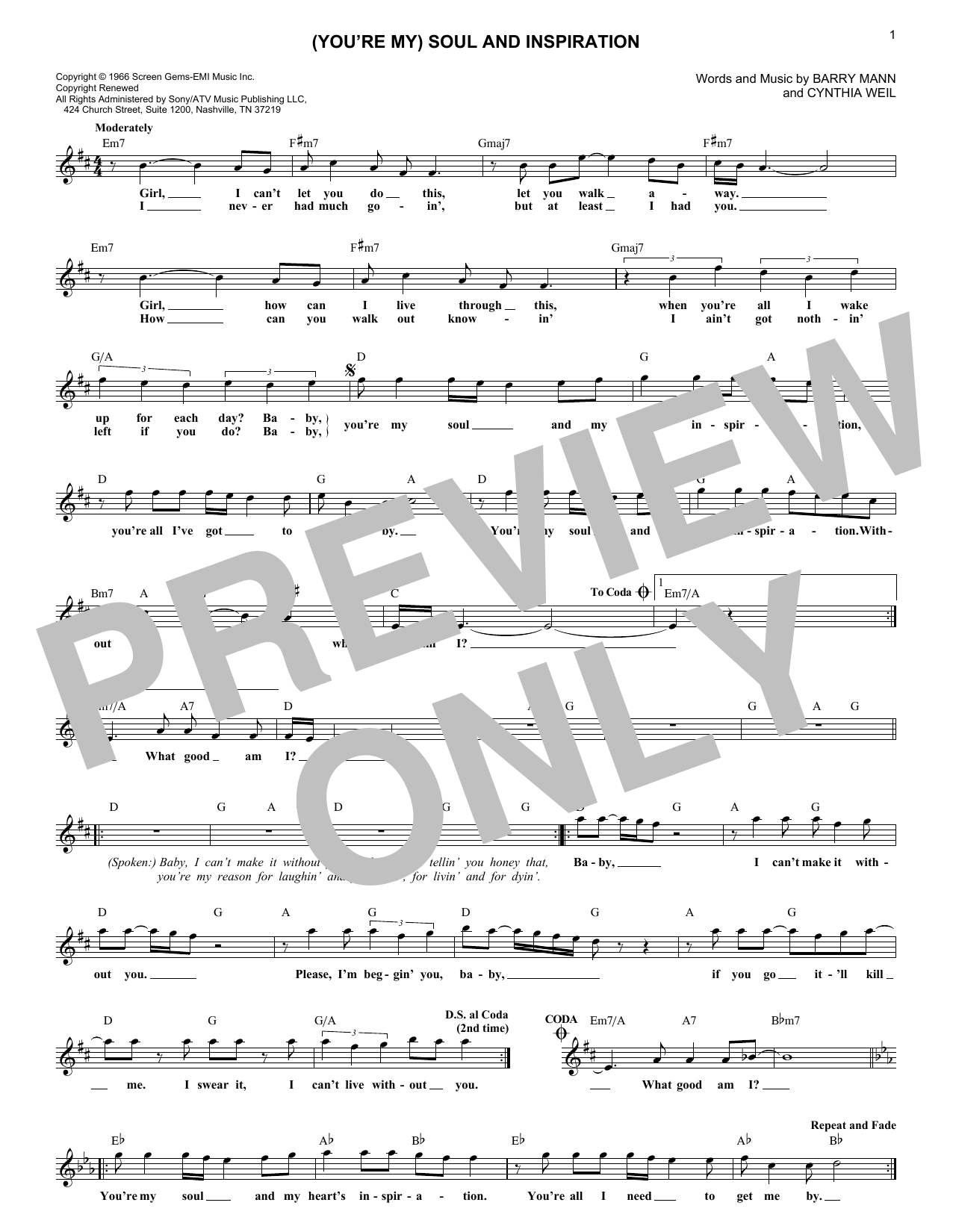 (You're My) Soul And Inspiration (Lead Sheet / Fake Book)