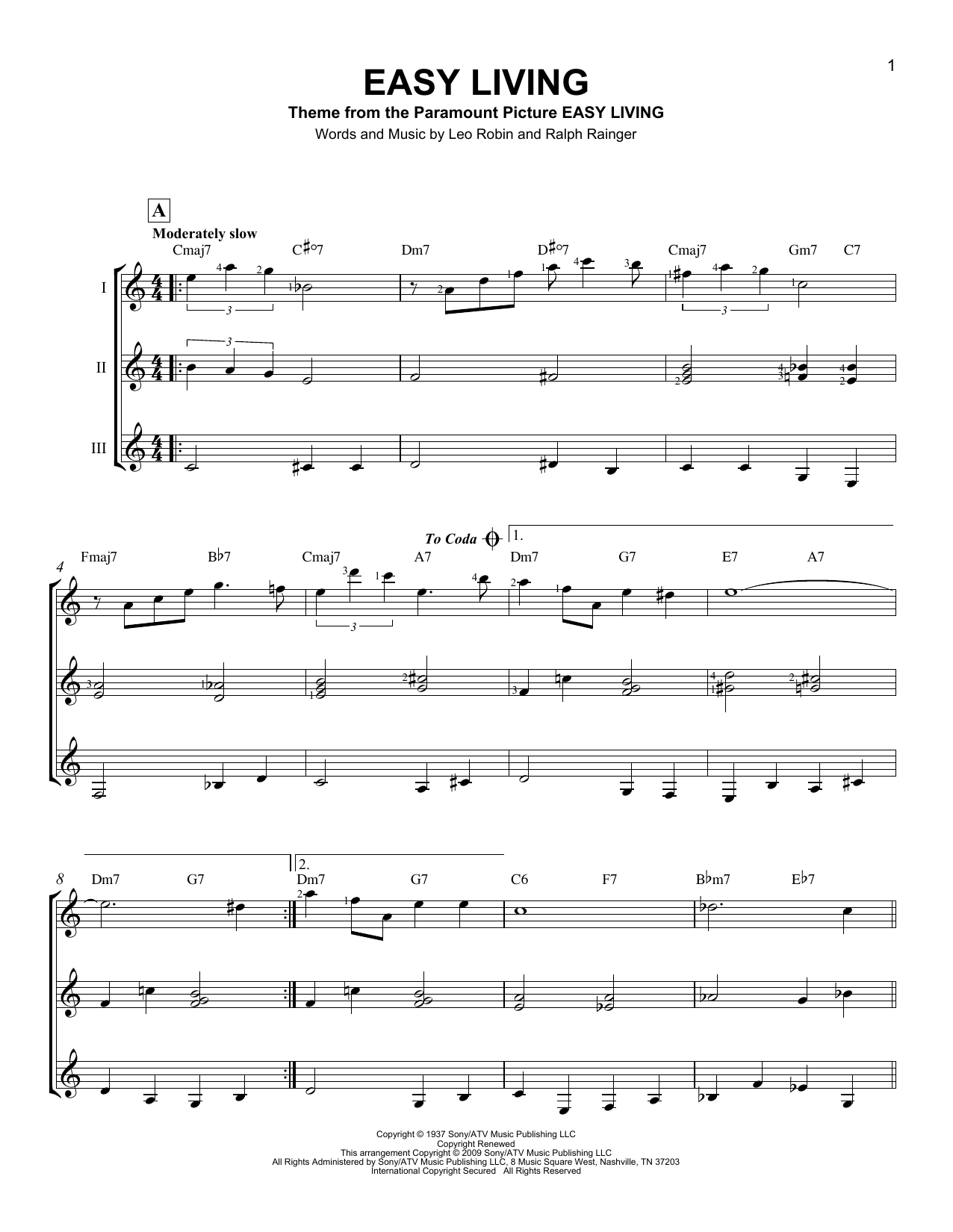 Easy Living Sheet Music