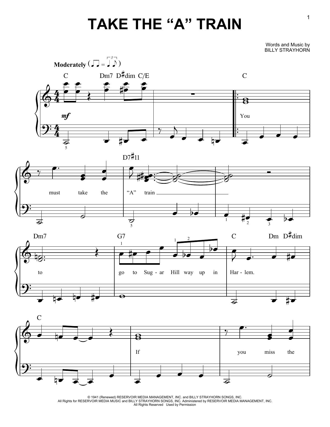 "Take The ""A"" Train (Easy Piano)"