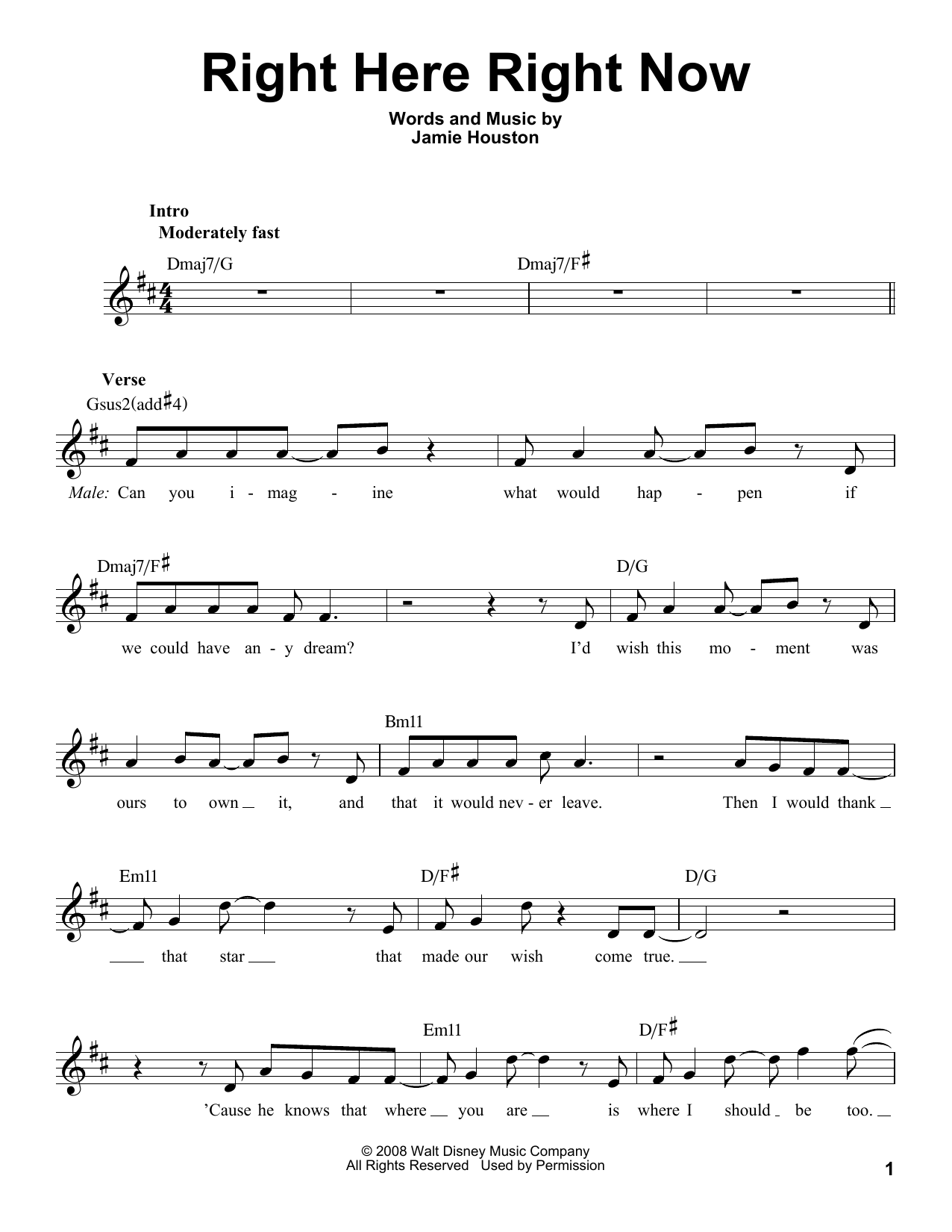 Right Here Right Now Sheet Music