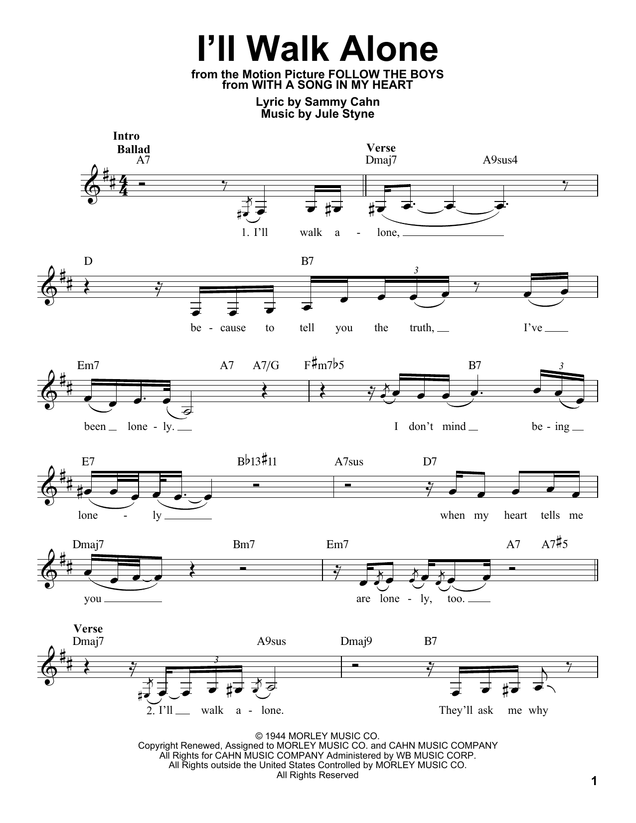 I'll Walk Alone Sheet Music