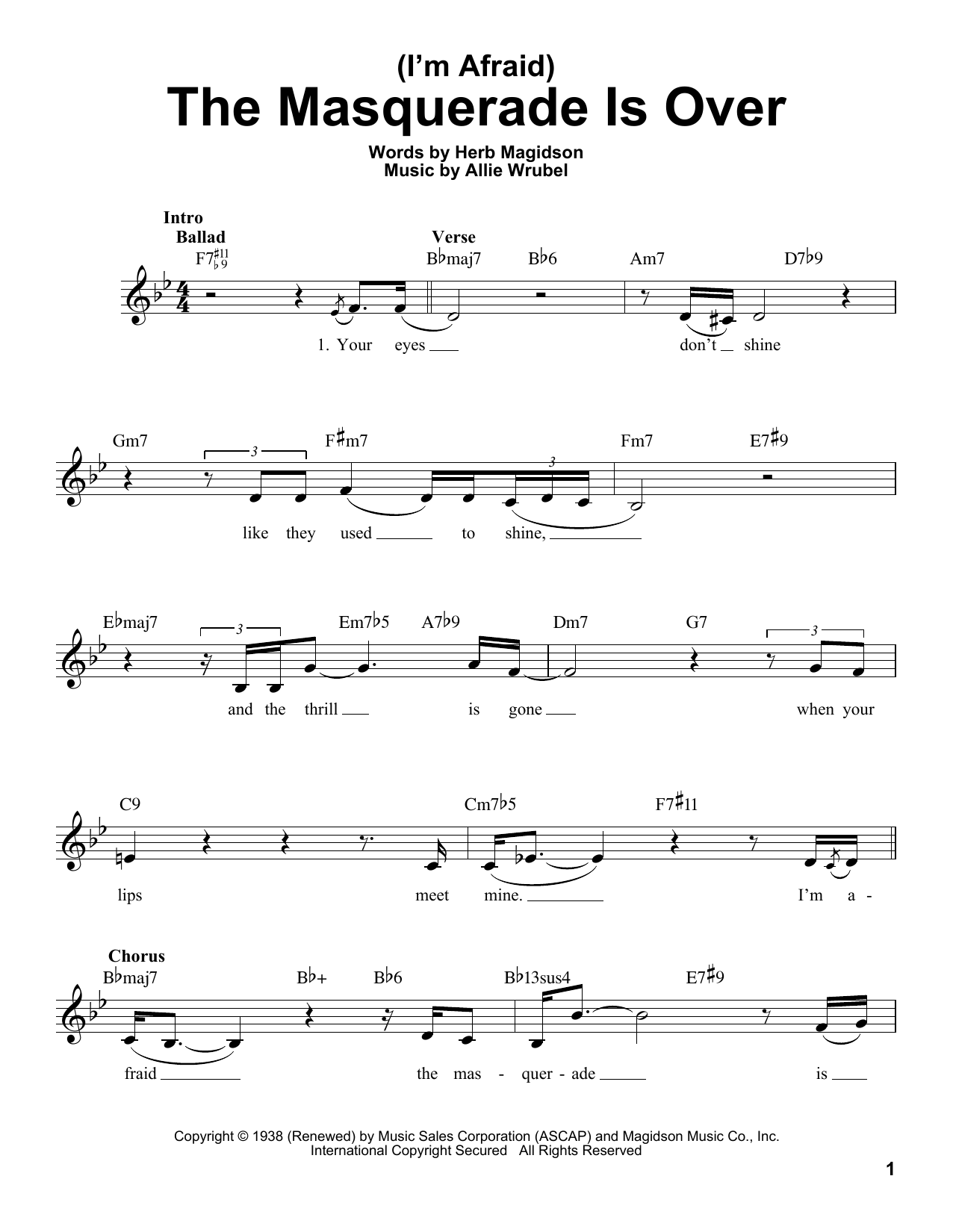 (I'm Afraid) The Masquerade Is Over Sheet Music