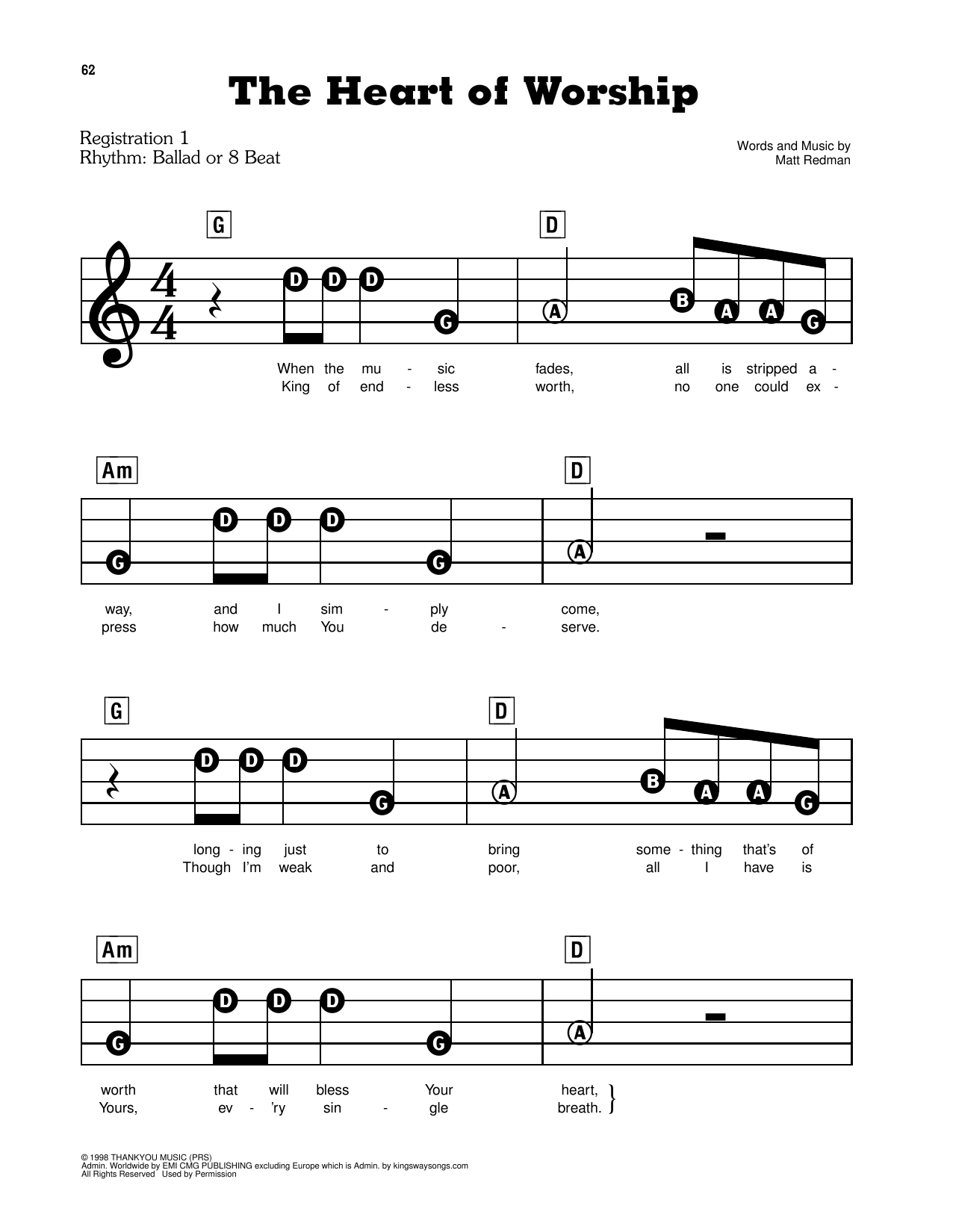 The Heart Of Worship (When The Music Fades) Sheet Music