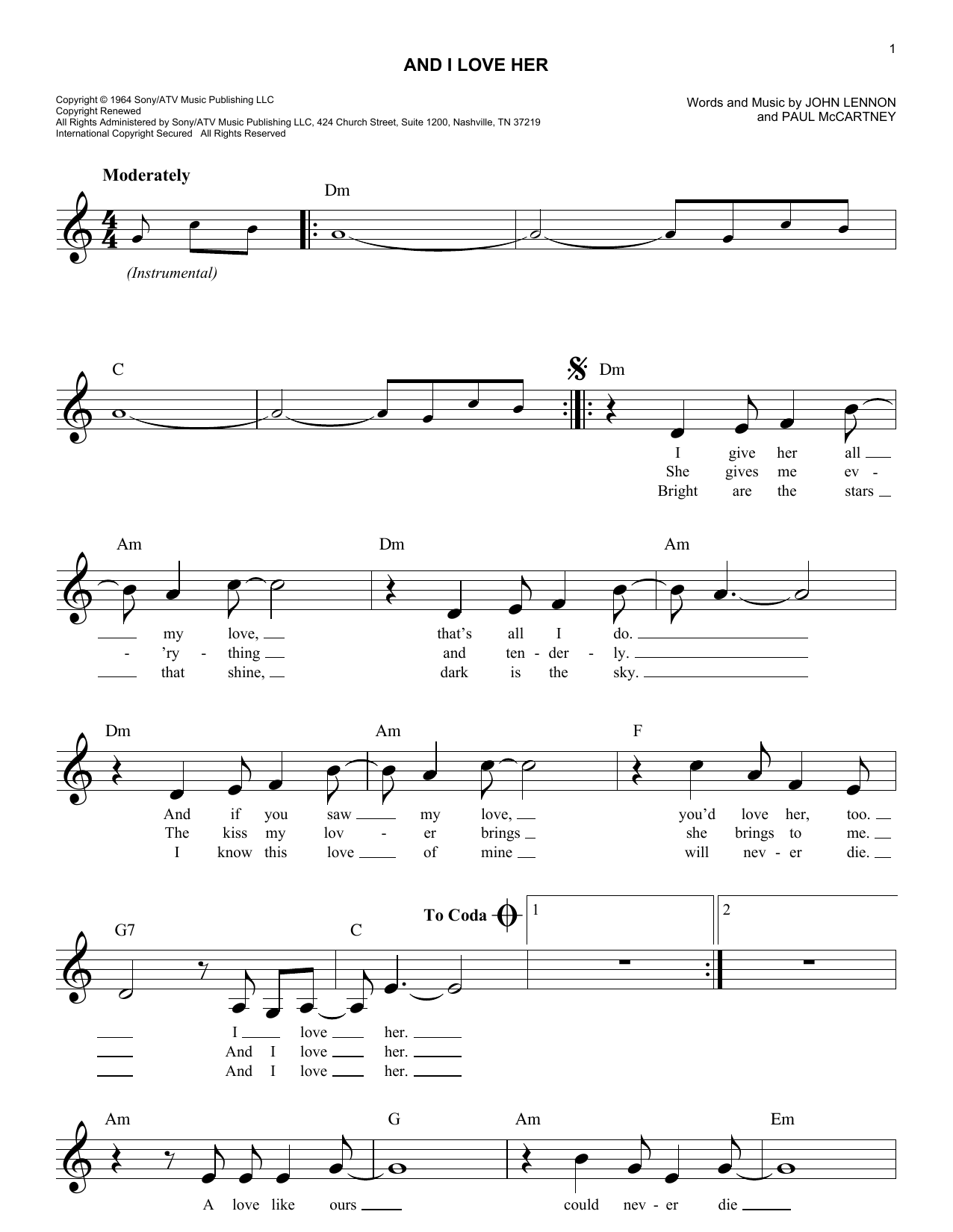 And I Love Her (Lead Sheet / Fake Book)