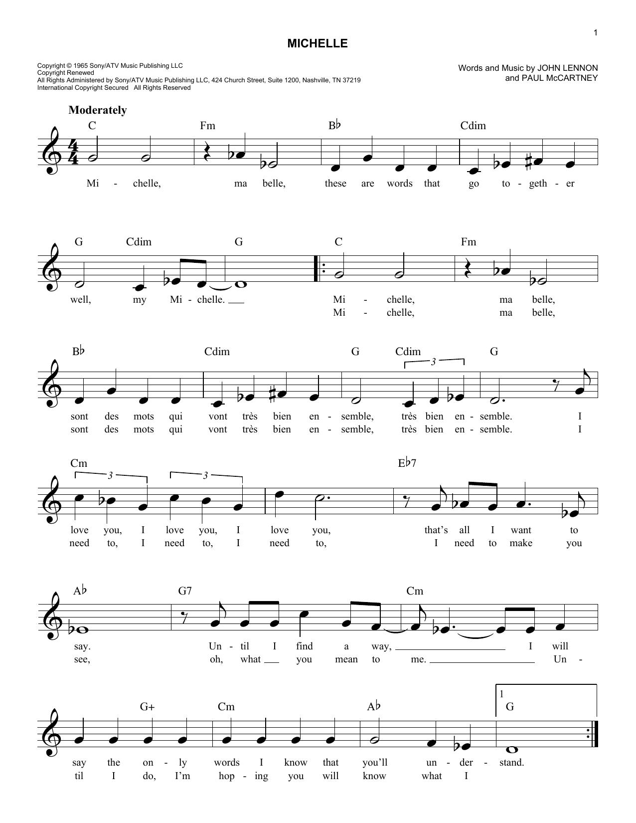Michelle Sheet Music