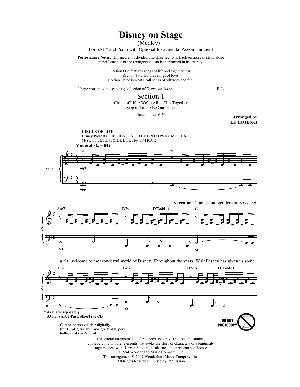 Disney On Stage (Medley) Sheet Music