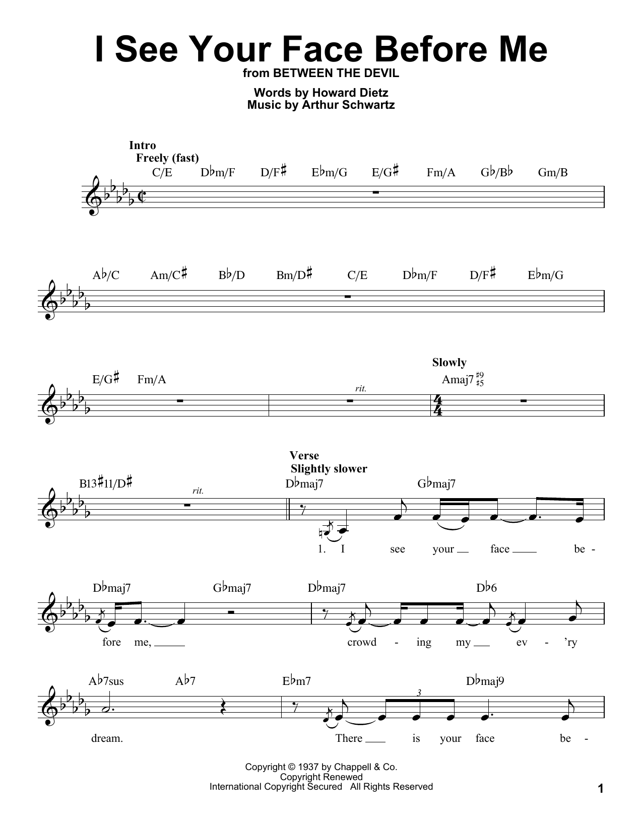 I See Your Face Before Me Sheet Music