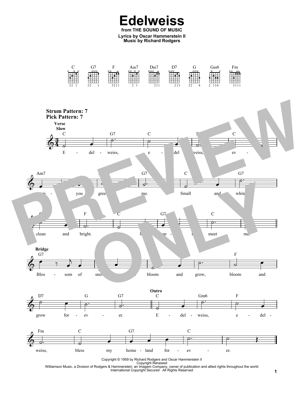 Edelweiss (from The Sound of Music) (Easy Guitar)