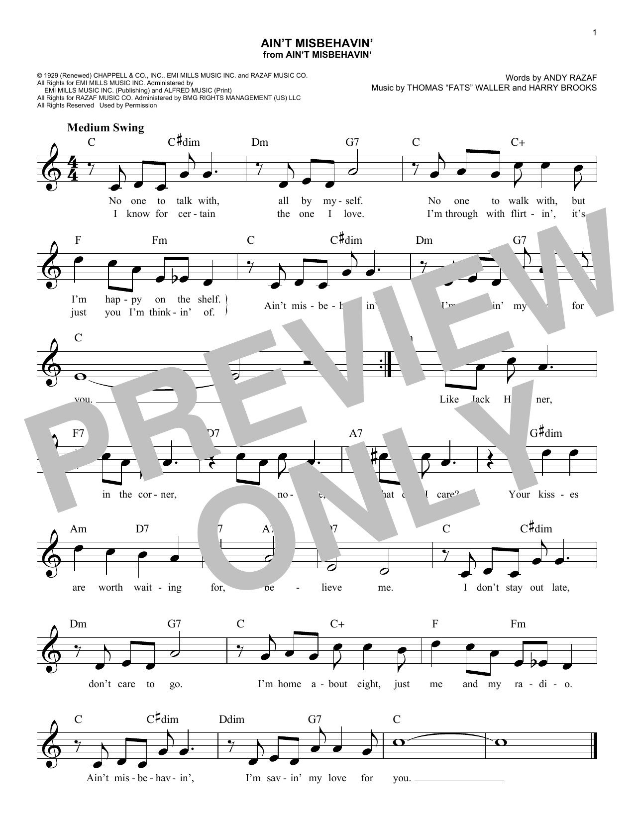 Ain't Misbehavin' Sheet Music