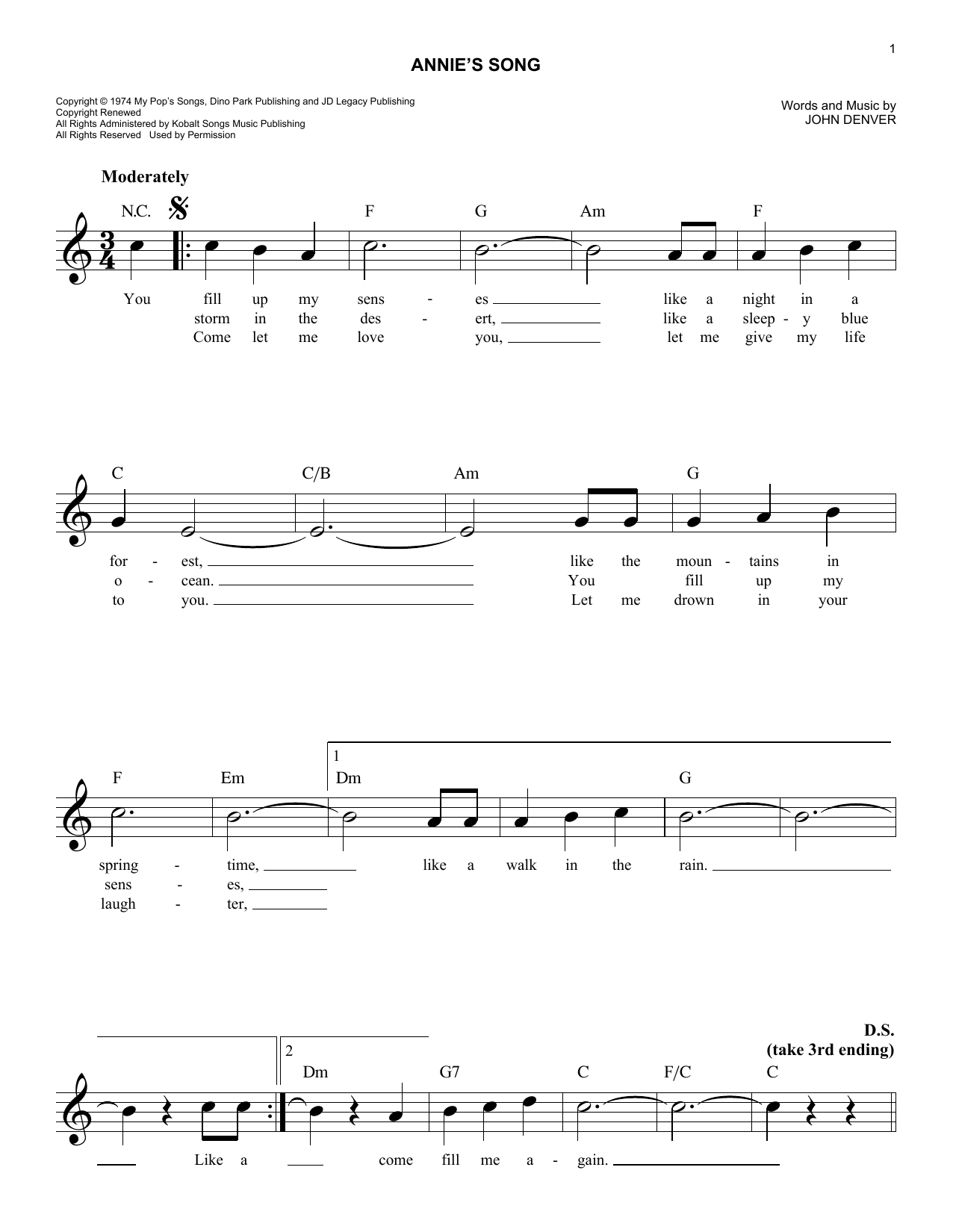 page one of Annie's SongASALTTEXT