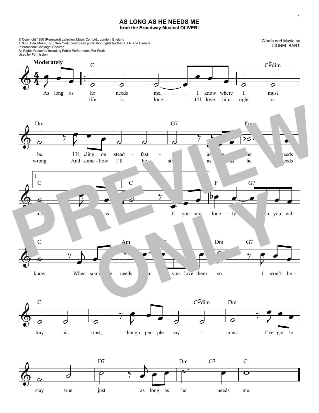 As Long As He Needs Me (from the musical Oliver!) (Lead Sheet / Fake Book)