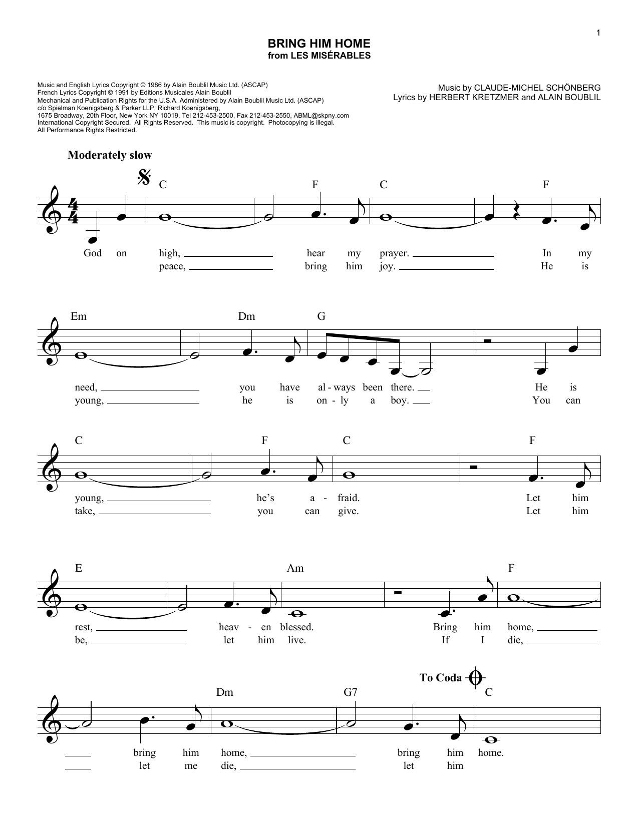 Bring Him Home (from Les Miserables) (Lead Sheet / Fake Book)